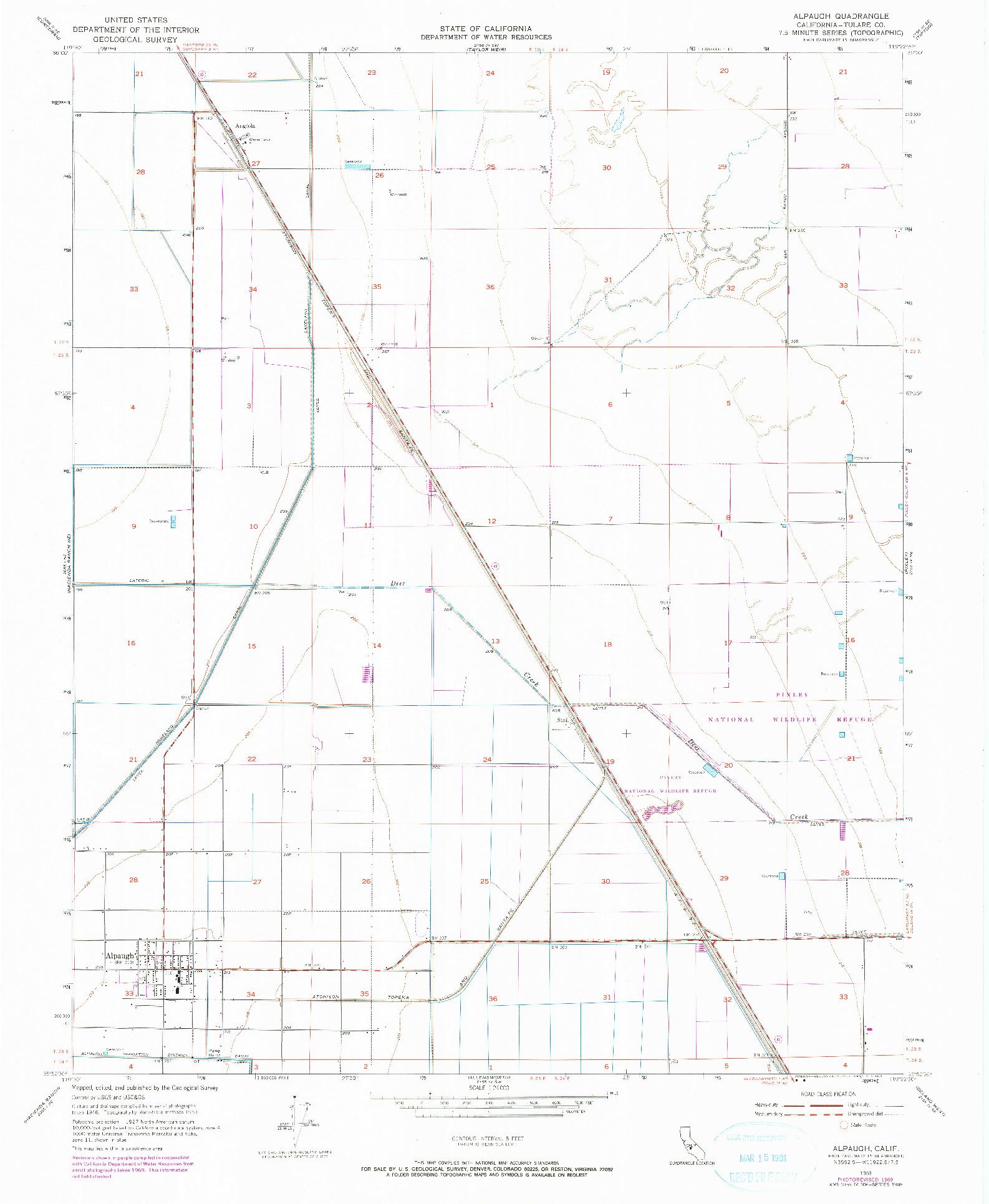 USGS 1:24000-SCALE QUADRANGLE FOR ALPAUGH, CA 1953