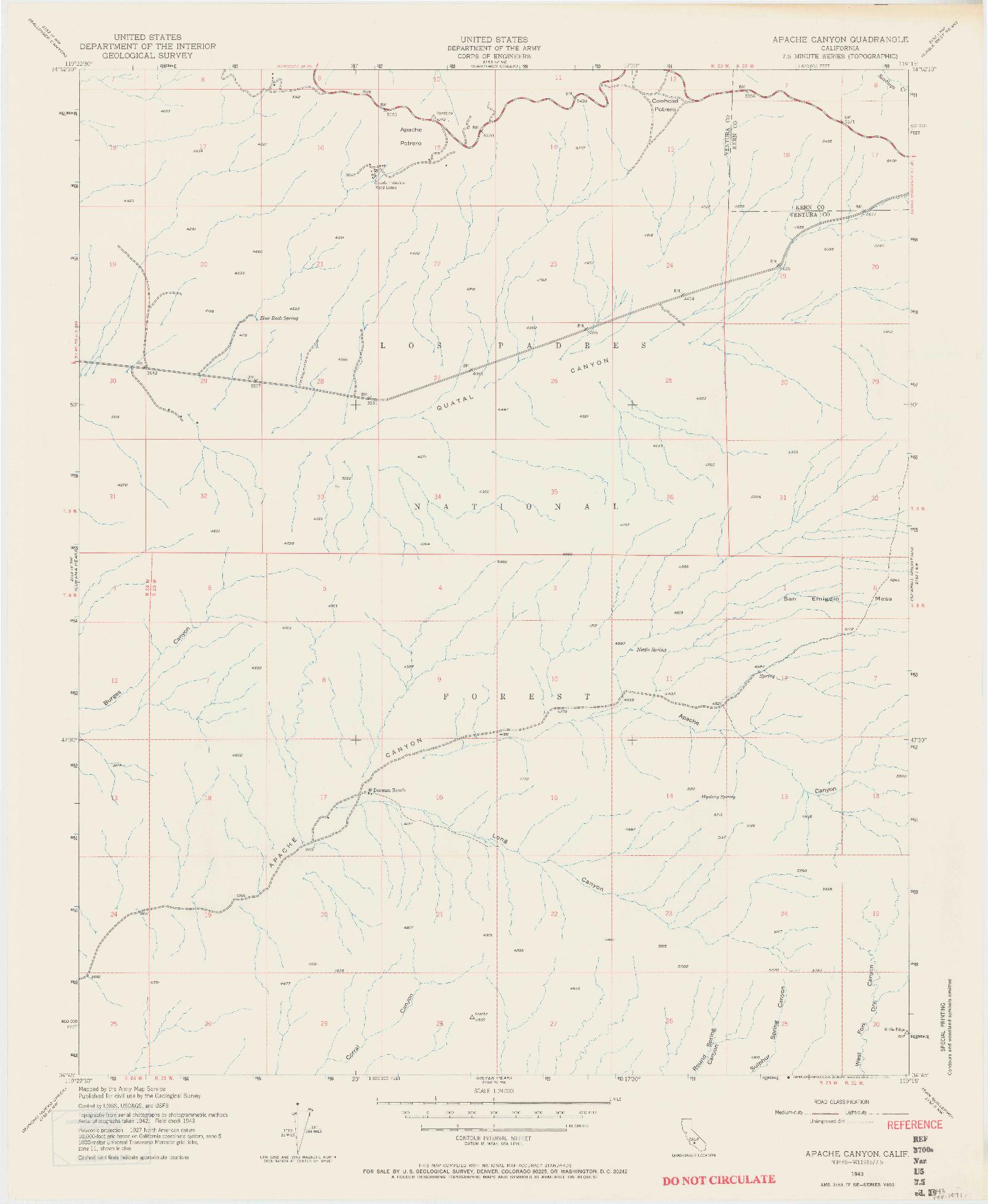 USGS 1:24000-SCALE QUADRANGLE FOR APACHE CANYON, CA 1943