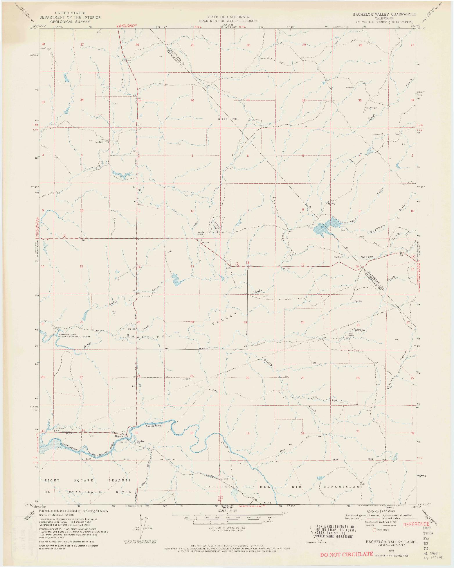 USGS 1:24000-SCALE QUADRANGLE FOR BACHELOR VALLEY, CA 1968