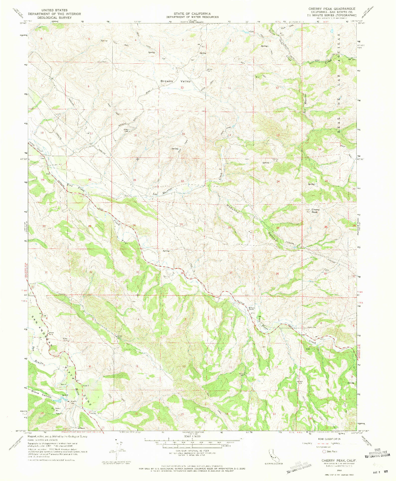 USGS 1:24000-SCALE QUADRANGLE FOR CHERRY PEAK, CA 1968