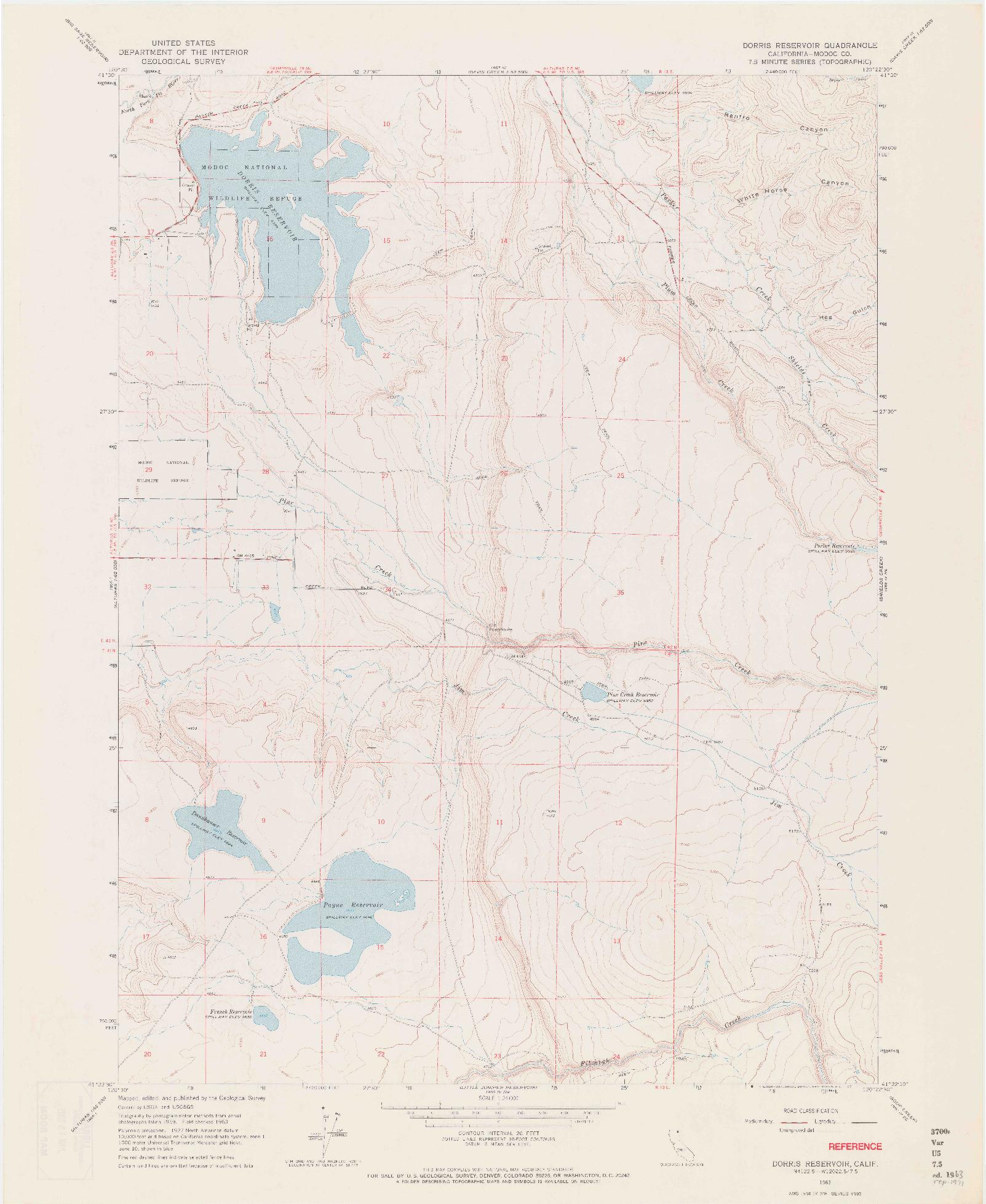 USGS 1:24000-SCALE QUADRANGLE FOR DORRIS RESERVOIR, CA 1963