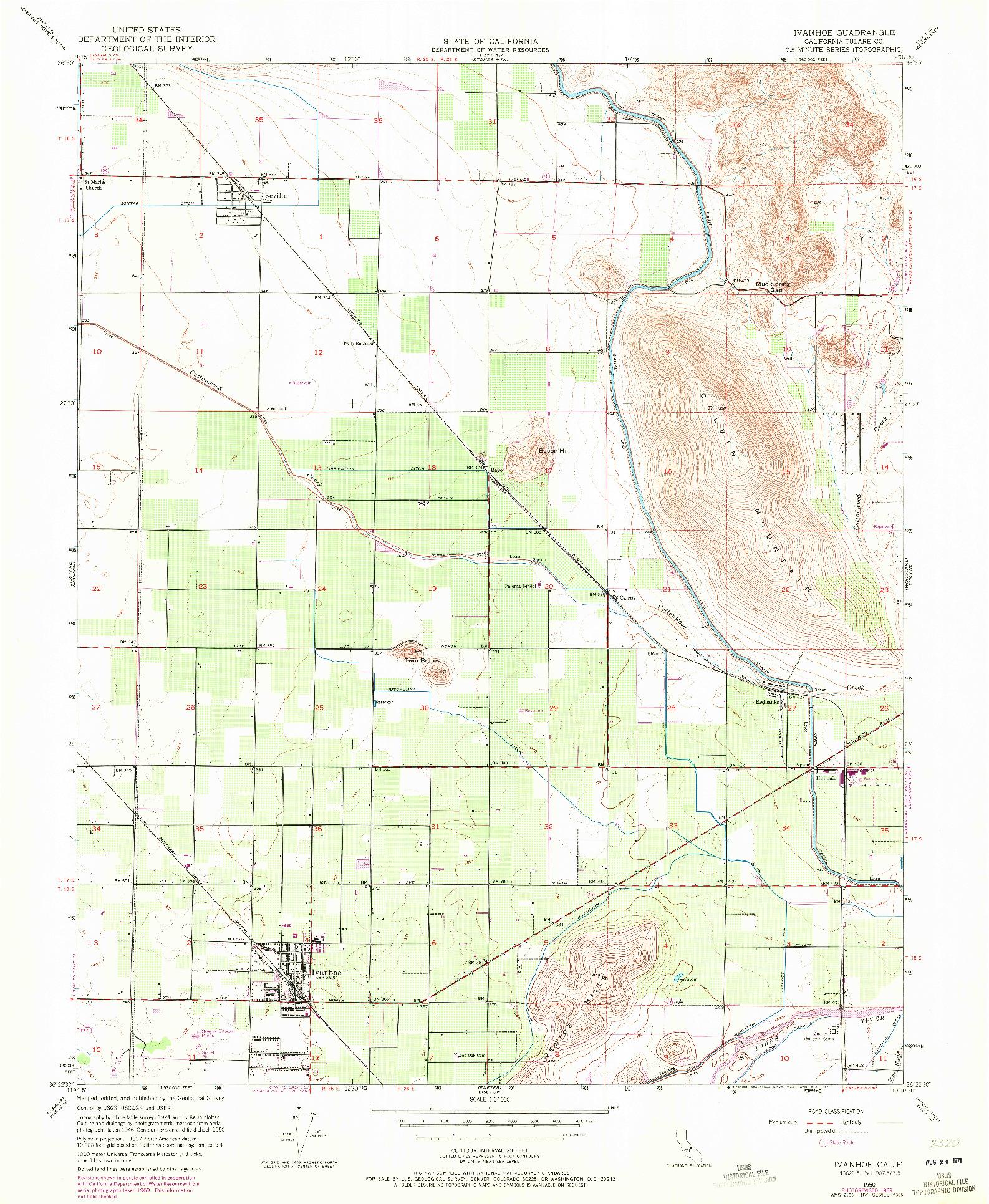 USGS 1:24000-SCALE QUADRANGLE FOR IVANHOE, CA 1950