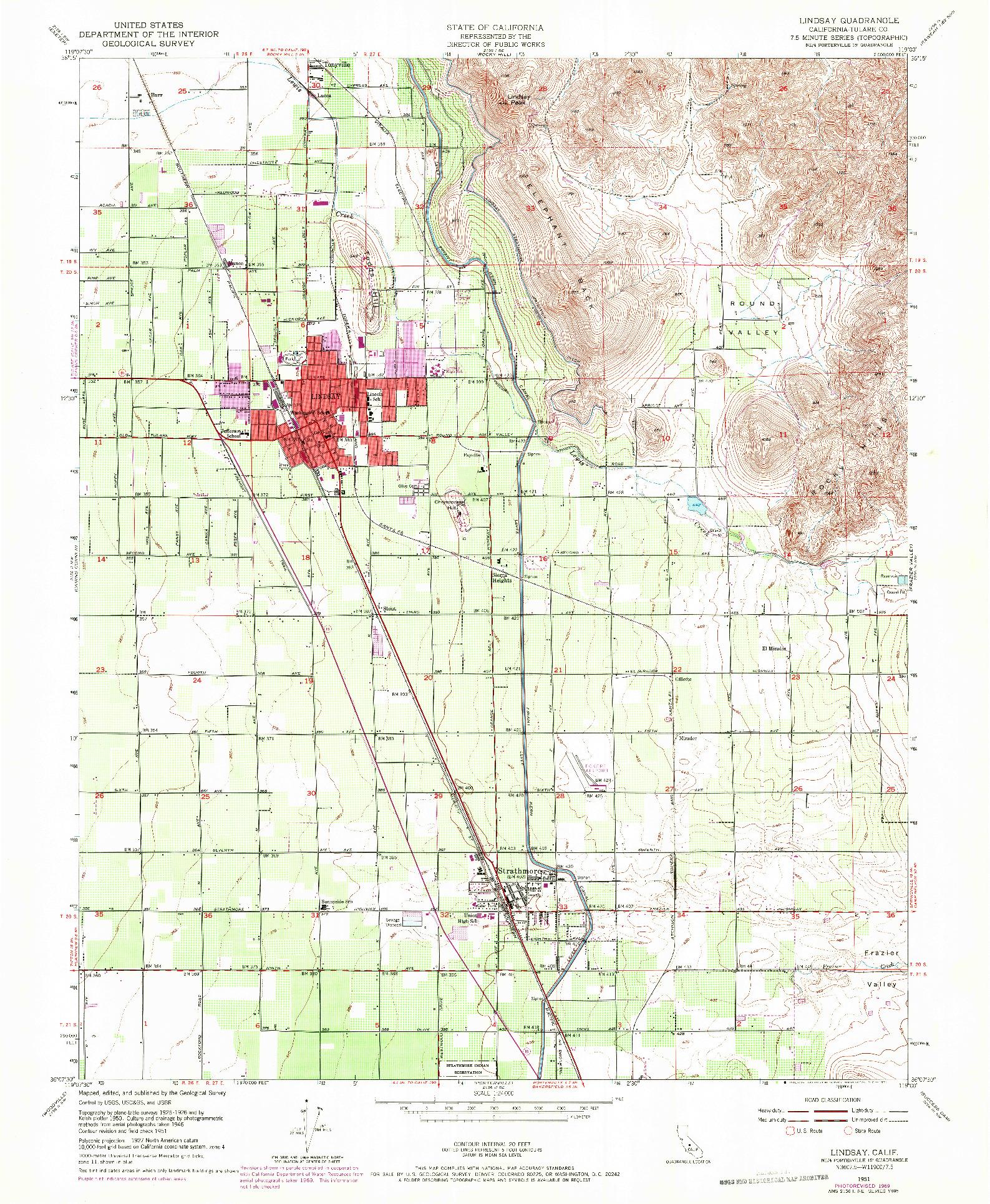 USGS 1:24000-SCALE QUADRANGLE FOR LINDSAY, CA 1951