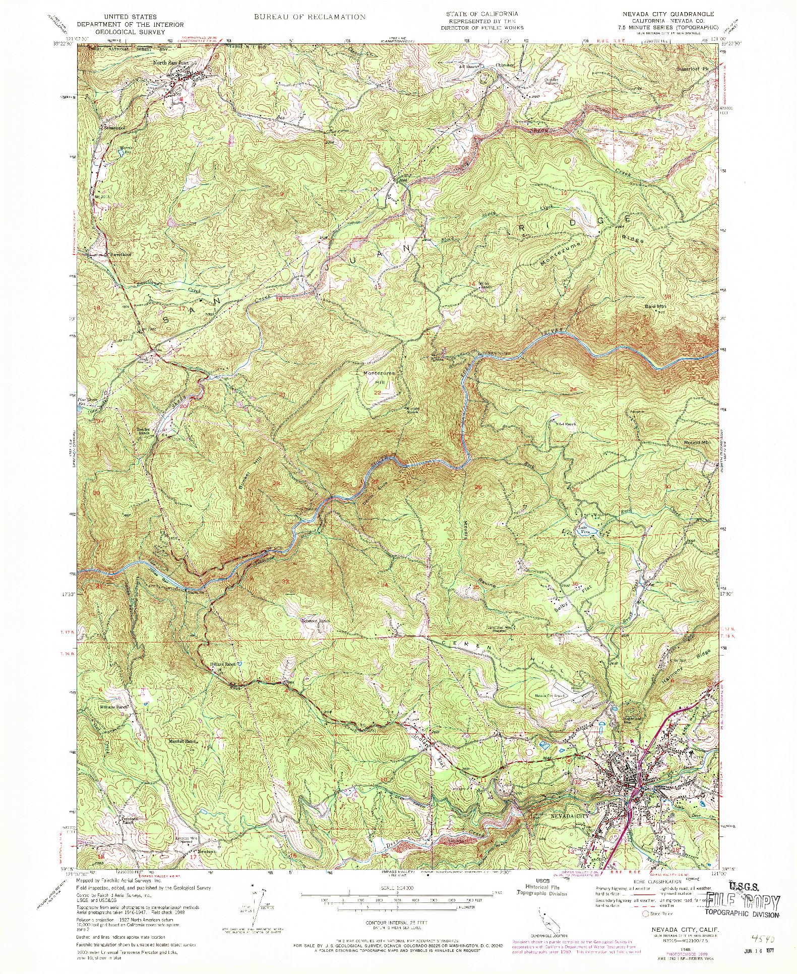 USGS 1:24000-SCALE QUADRANGLE FOR NEVADA CITY, CA 1948