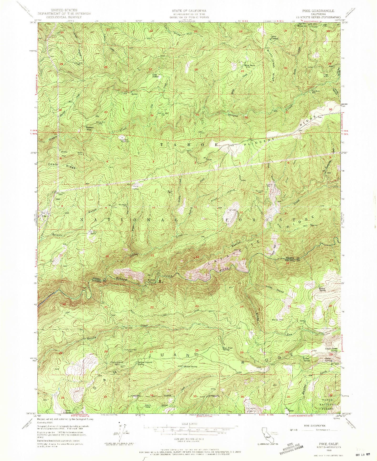 USGS 1:24000-SCALE QUADRANGLE FOR PIKE, CA 1949