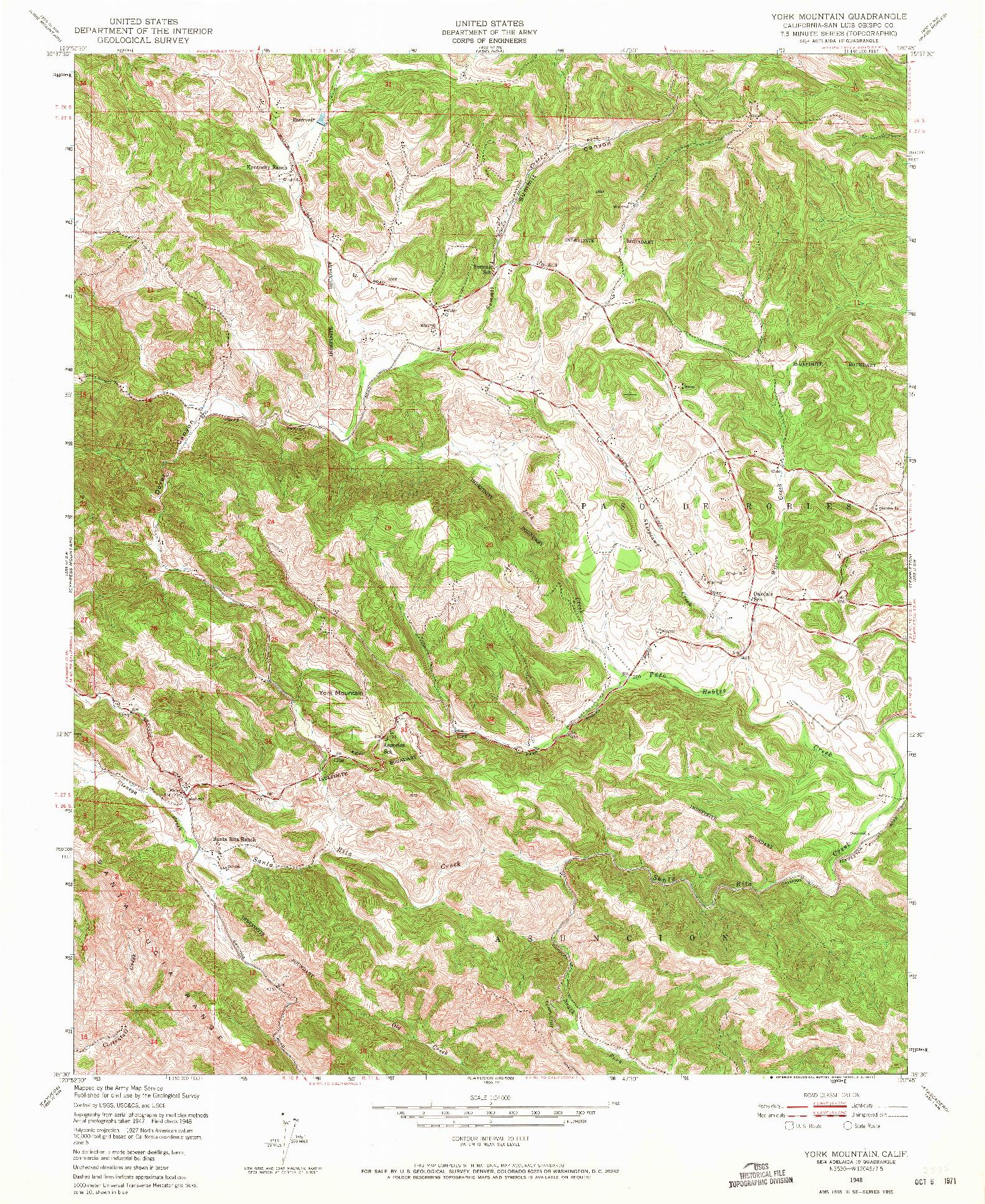 USGS 1:24000-SCALE QUADRANGLE FOR YORK MOUNTAIN, CA 1948