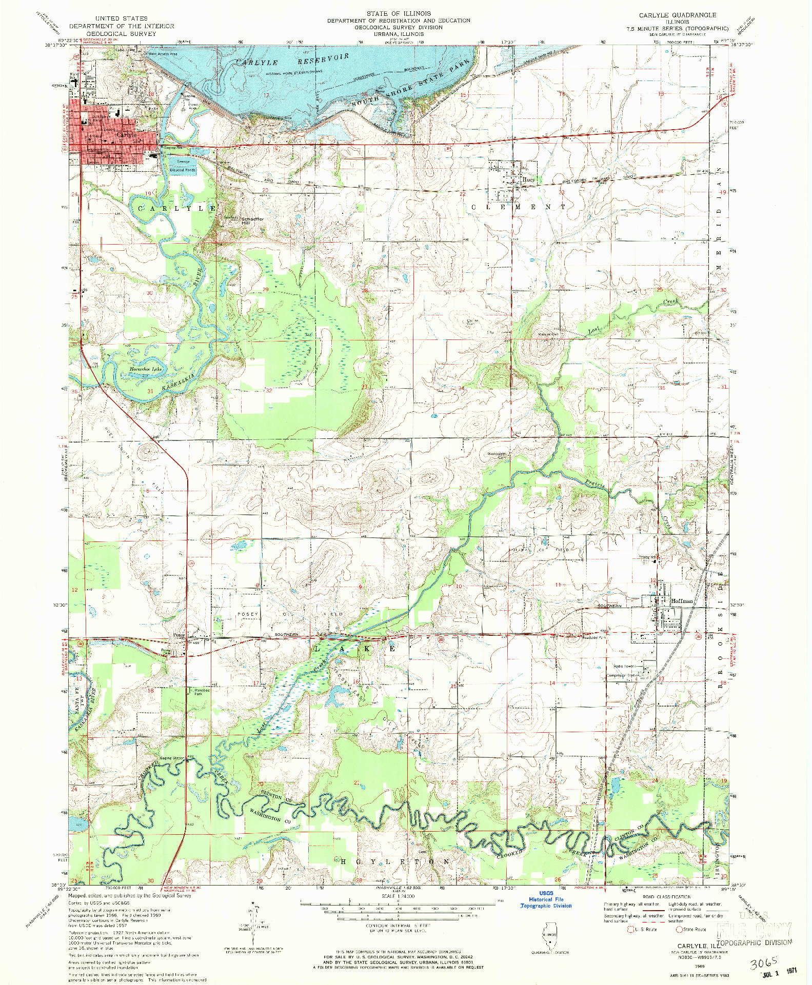 USGS 1:24000-SCALE QUADRANGLE FOR CARLYLE, IL 1969