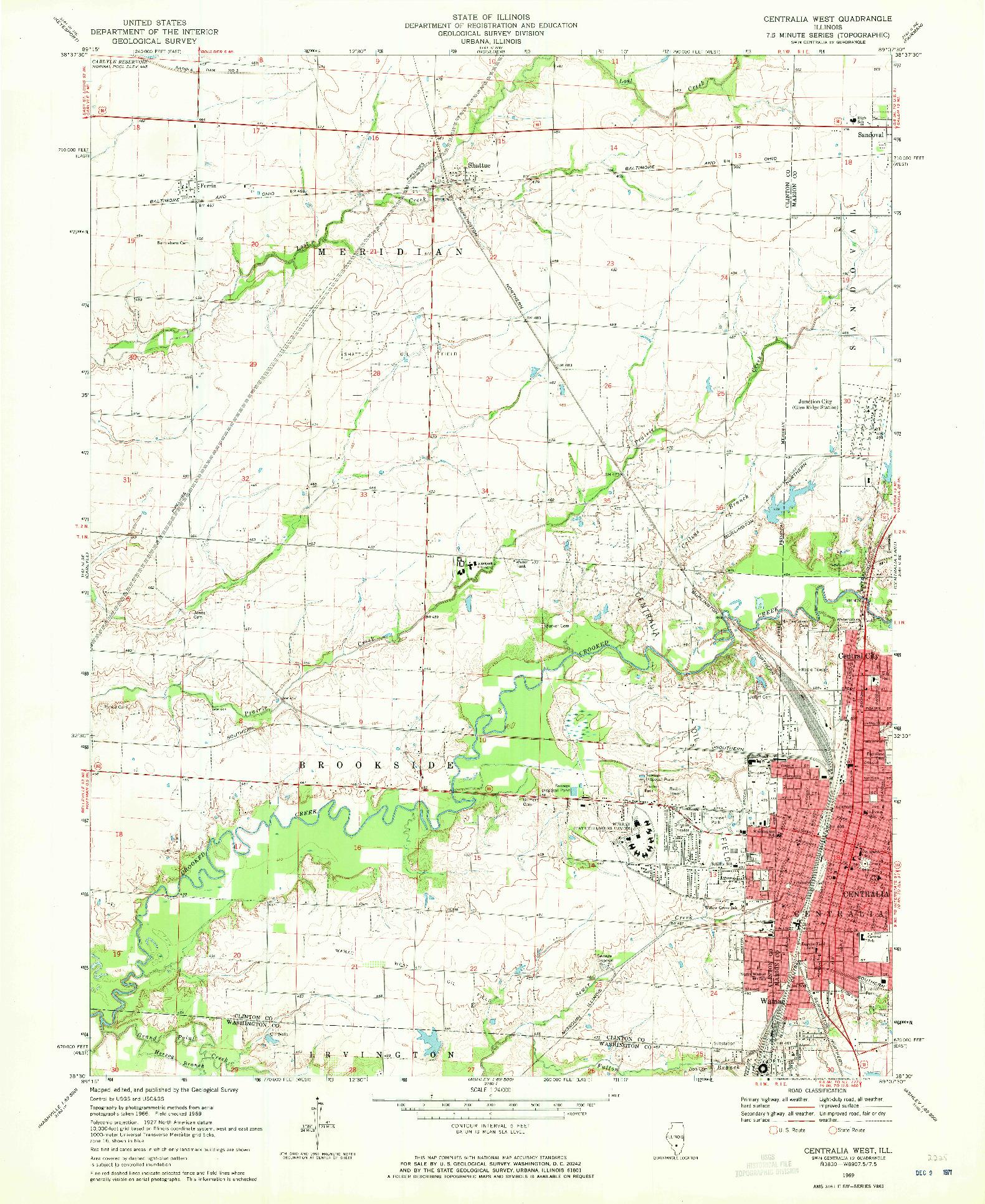 USGS 1:24000-SCALE QUADRANGLE FOR CENTRALIA WEST, IL 1969