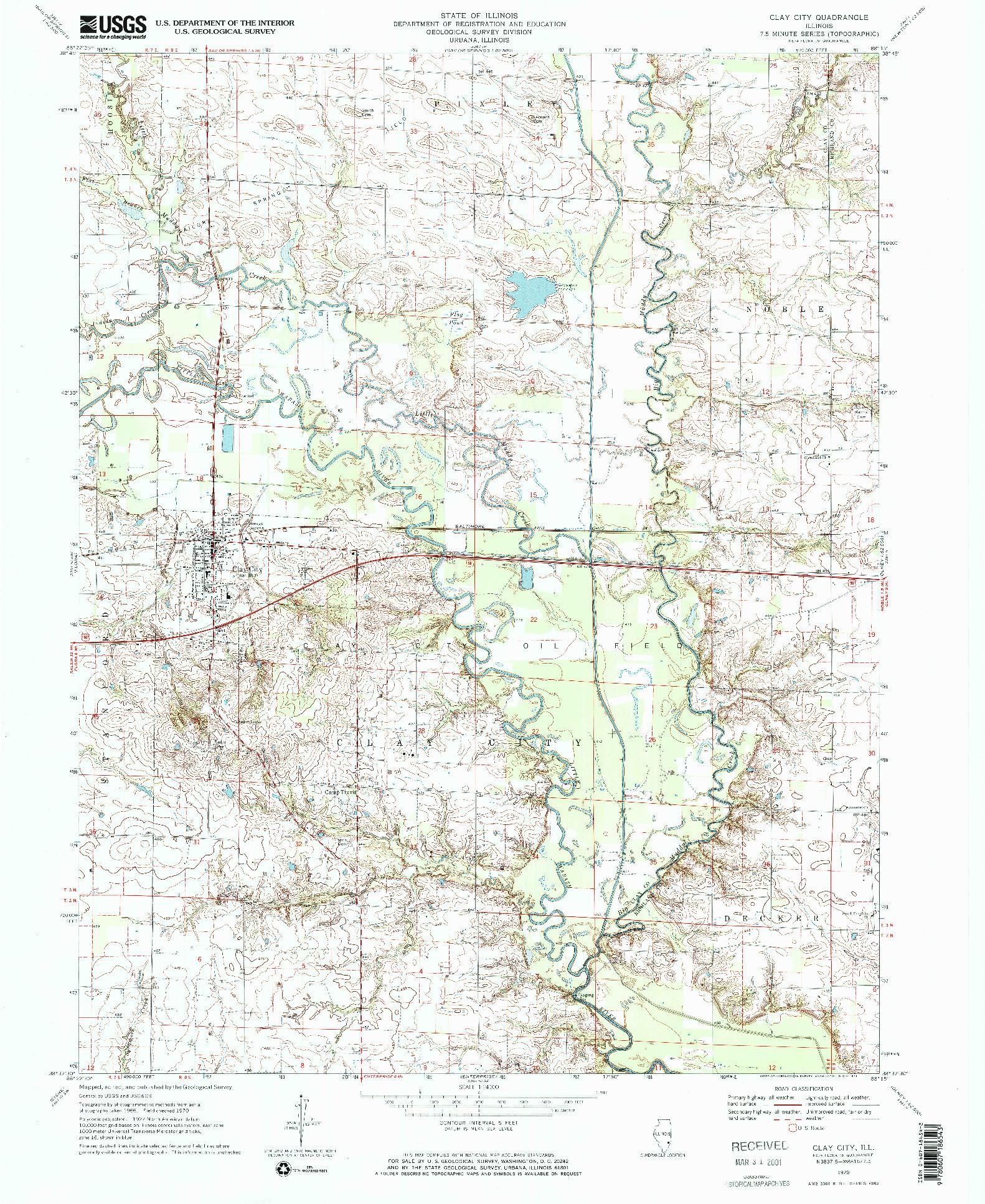 USGS 1:24000-SCALE QUADRANGLE FOR CLAY CITY, IL 1970