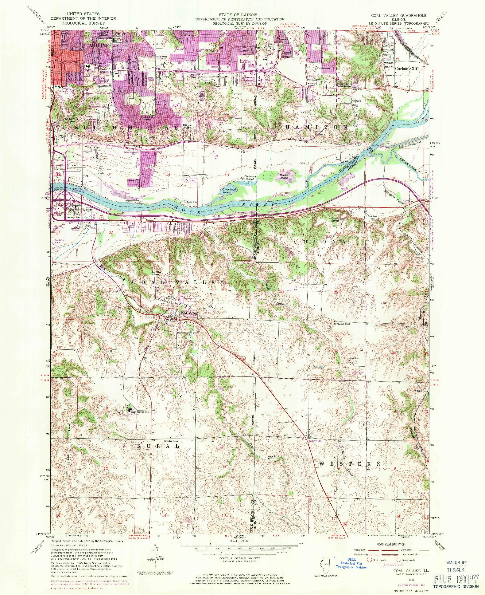 USGS 1:24000-SCALE QUADRANGLE FOR COAL VALLEY, IL 1953