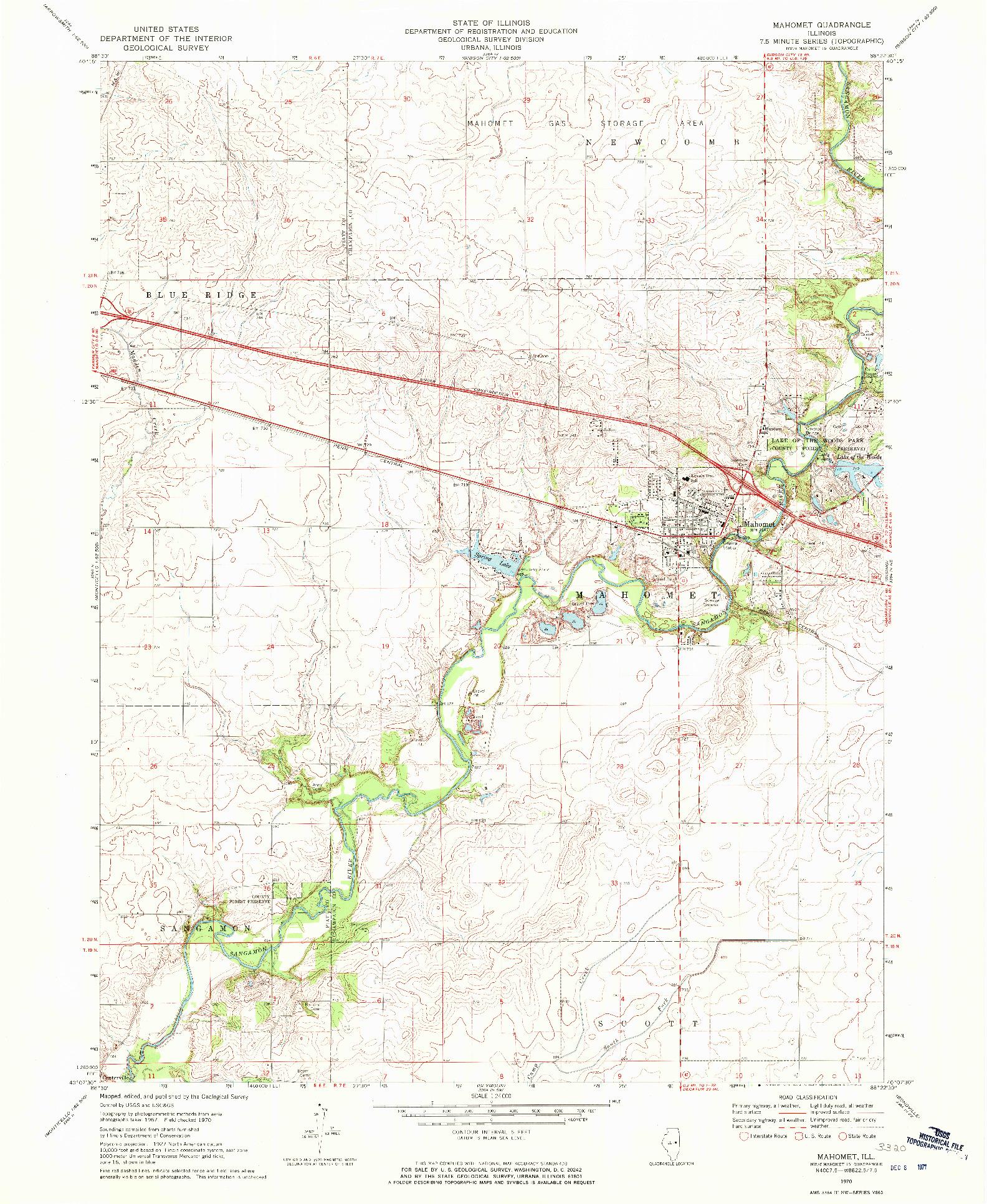 USGS 1:24000-SCALE QUADRANGLE FOR MAHOMET, IL 1970