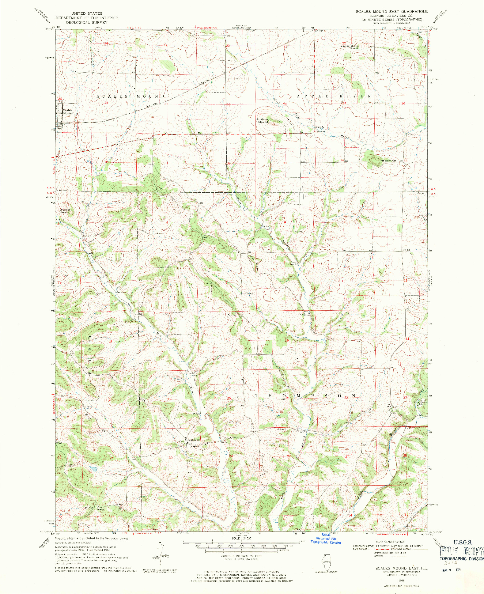 USGS 1:24000-SCALE QUADRANGLE FOR SCALES MOUND EAST, IL 1968