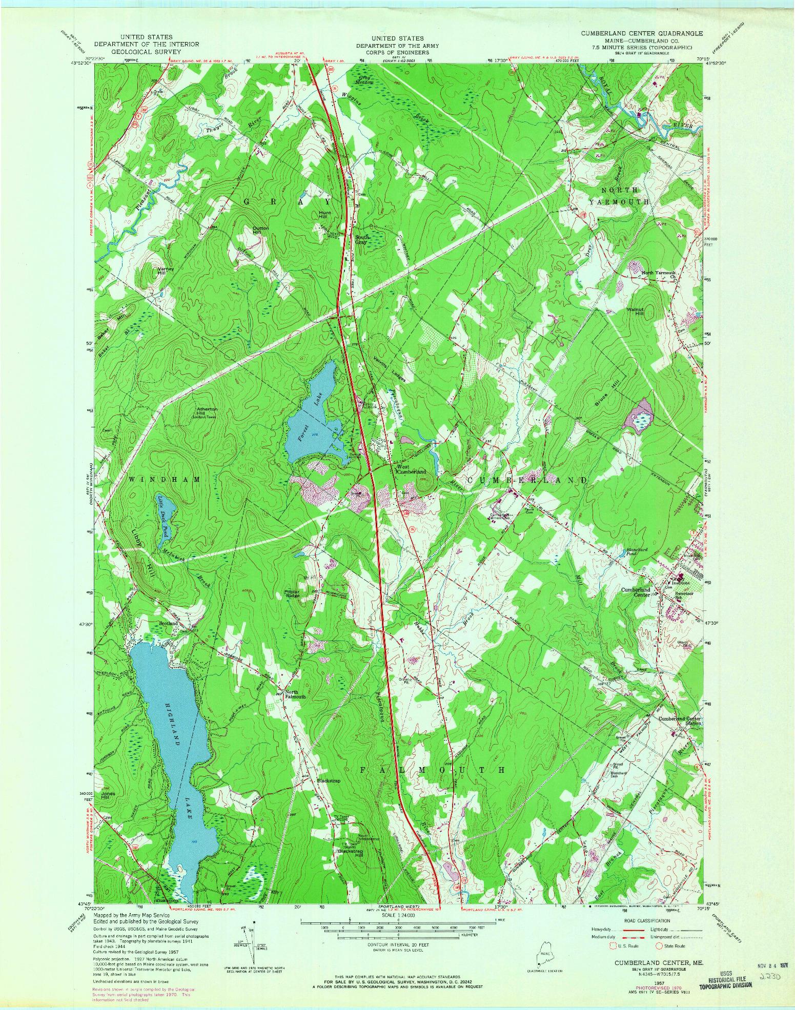 USGS 1:24000-SCALE QUADRANGLE FOR CUMBERLAND CENTER, ME 1957