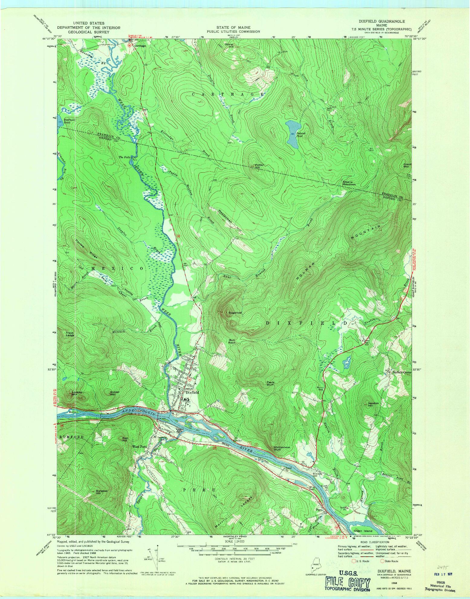 USGS 1:24000-SCALE QUADRANGLE FOR DIXFIELD, ME 1968