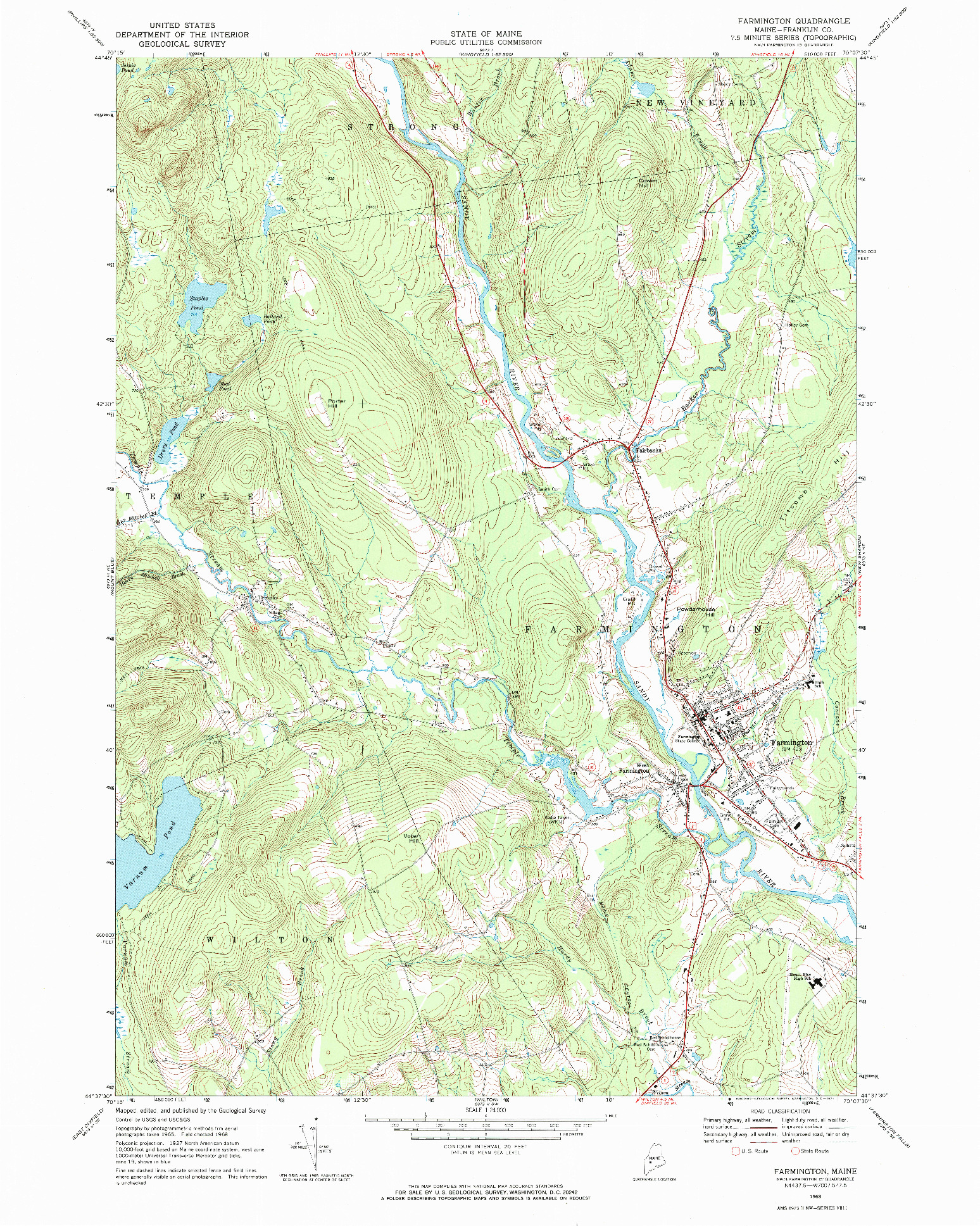 USGS 1:24000-SCALE QUADRANGLE FOR FARMINGTON, ME 1968