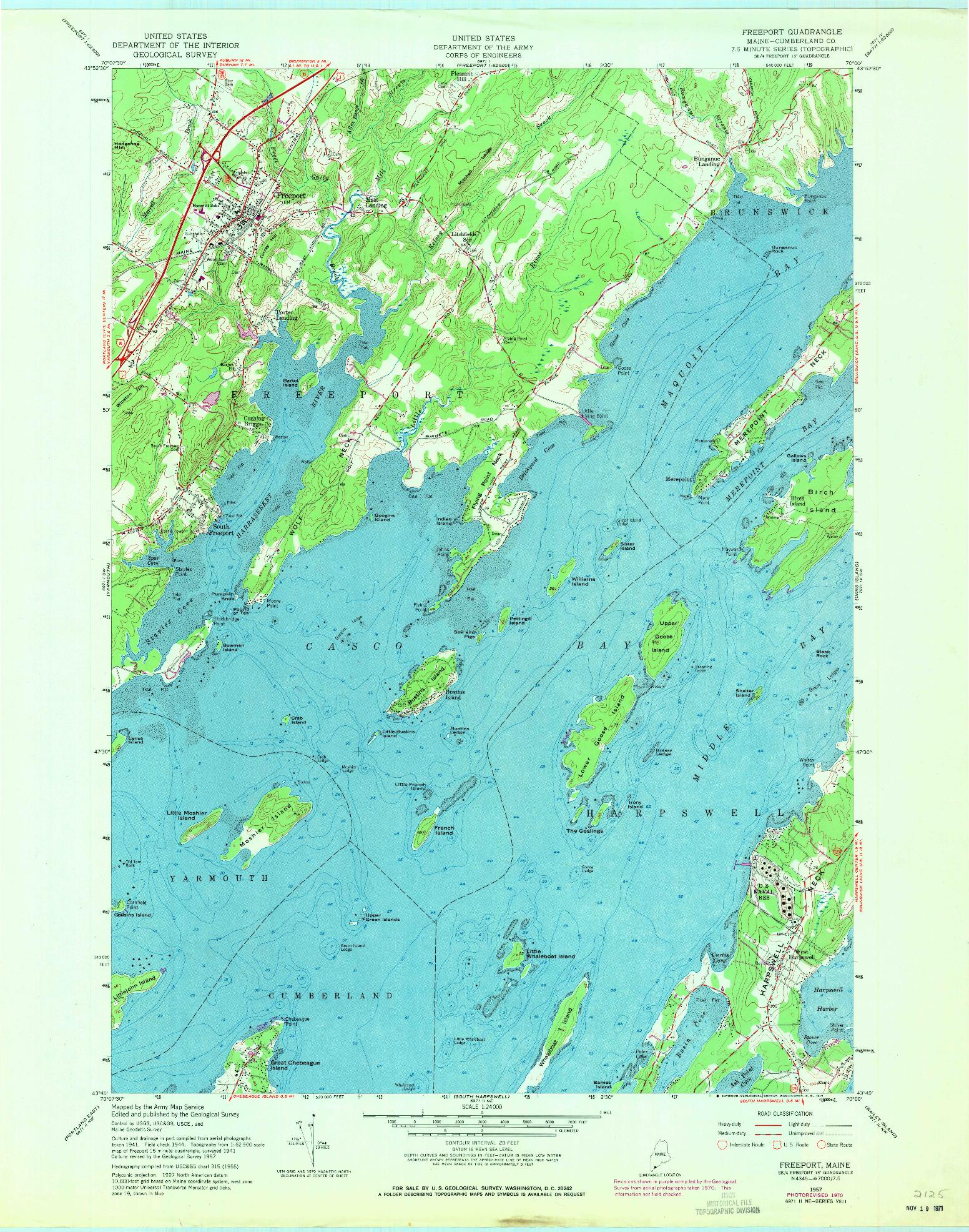USGS 1:24000-SCALE QUADRANGLE FOR FREEPORT, ME 1957