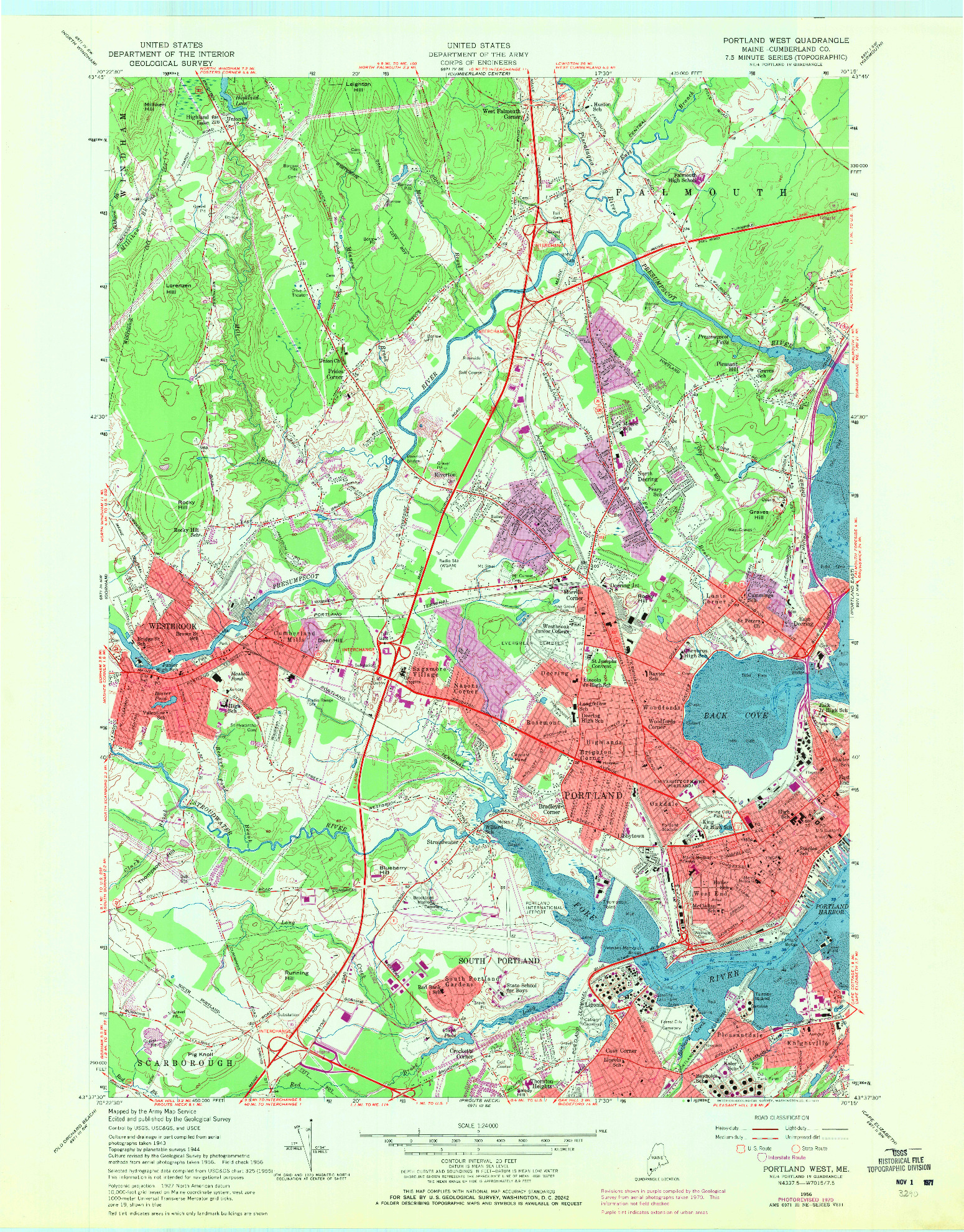 USGS 1:24000-SCALE QUADRANGLE FOR PORTLAND WEST, ME 1956