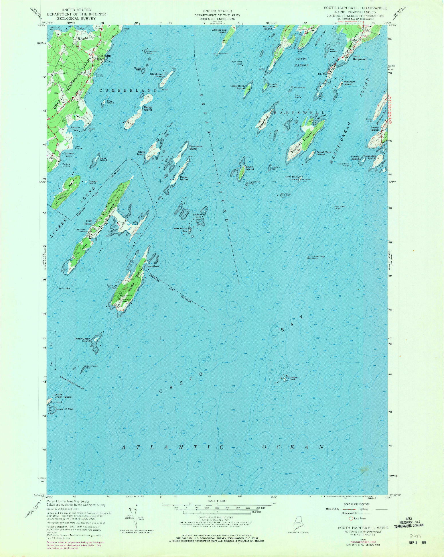 USGS 1:24000-SCALE QUADRANGLE FOR SOUTH HARPSWELL, ME 1956
