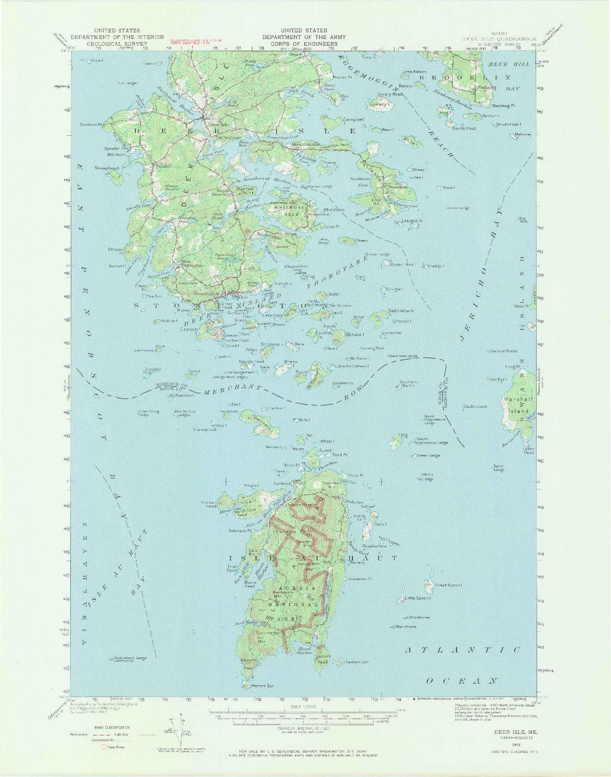 USGS 1:62500-SCALE QUADRANGLE FOR DEER ISLE, ME 1942
