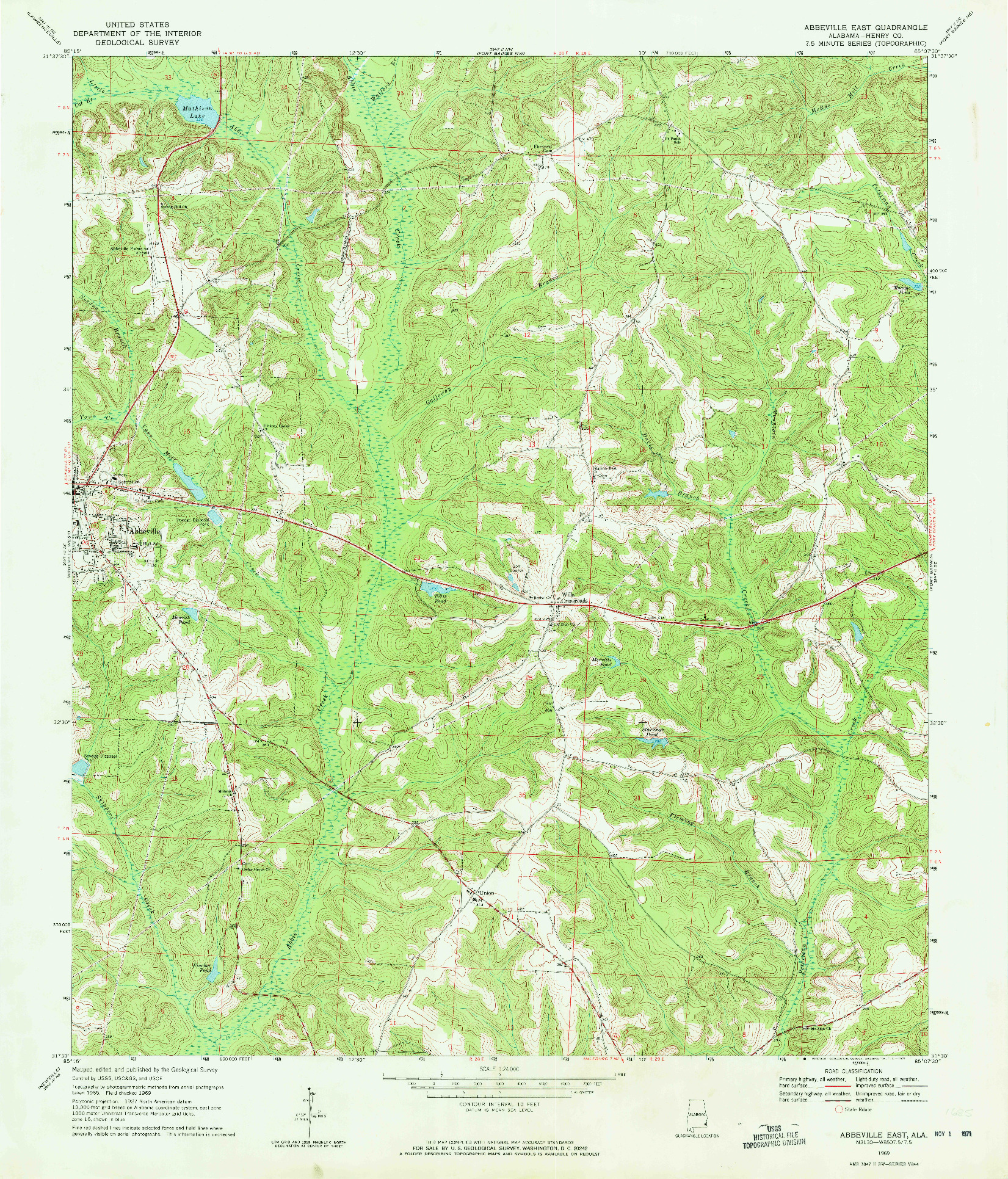 USGS 1:24000-SCALE QUADRANGLE FOR ABBEVILLE EAST, AL 1969