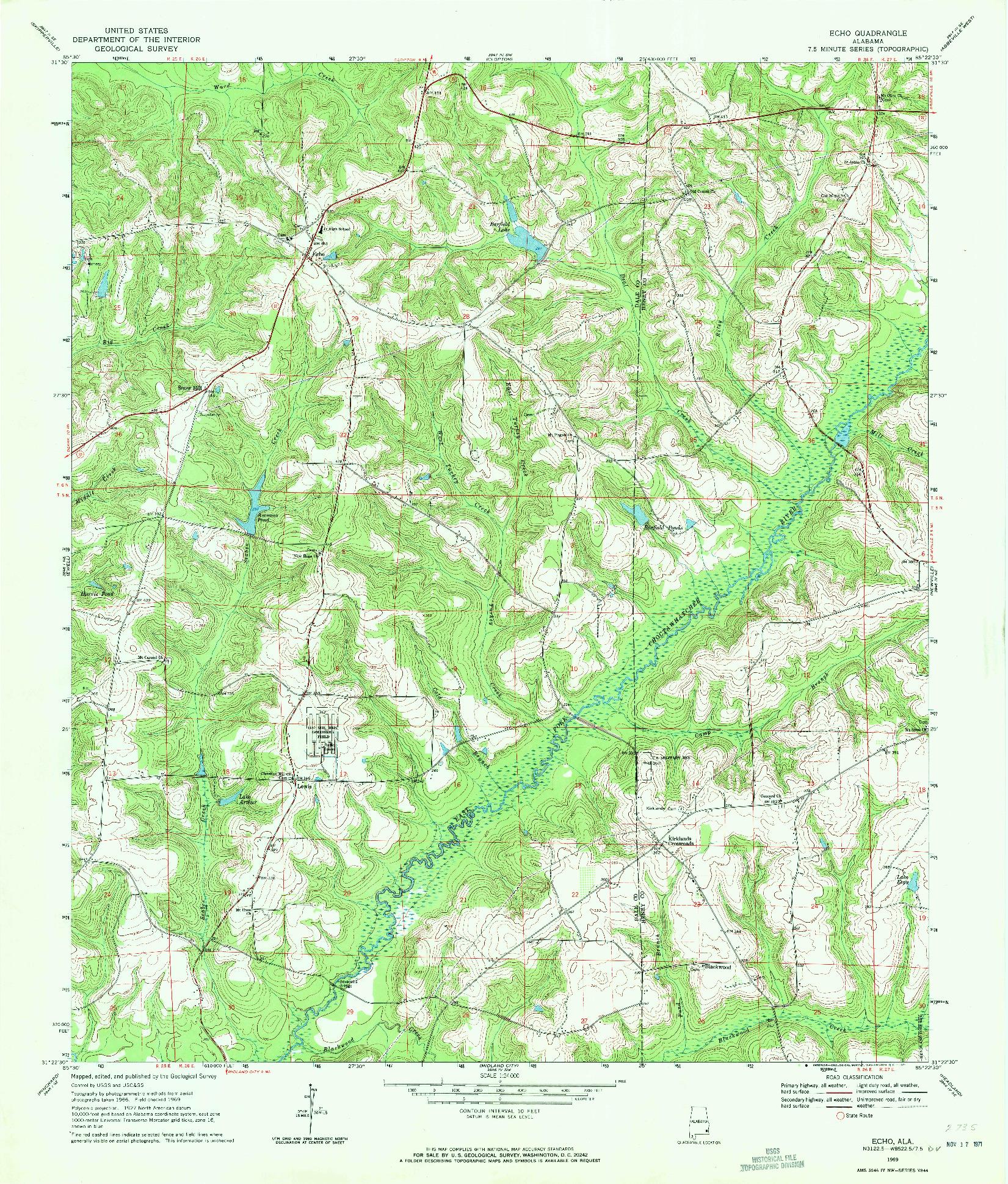 USGS 1:24000-SCALE QUADRANGLE FOR ECHO, AL 1969