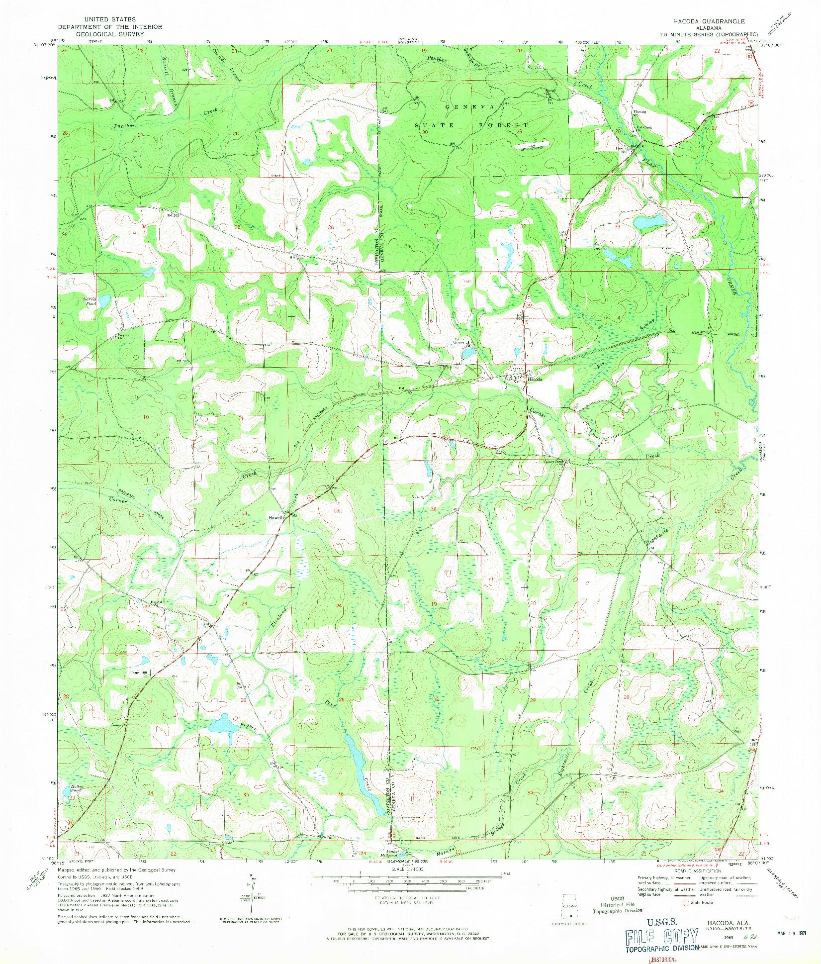 USGS 1:24000-SCALE QUADRANGLE FOR HACODA, AL 1969