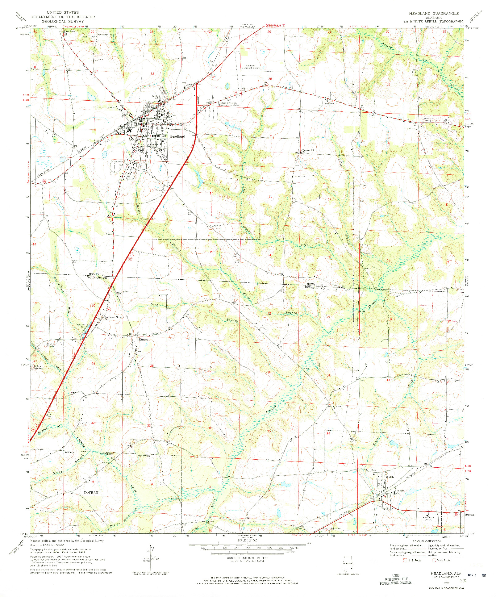 USGS 1:24000-SCALE QUADRANGLE FOR HEADLAND, AL 1969