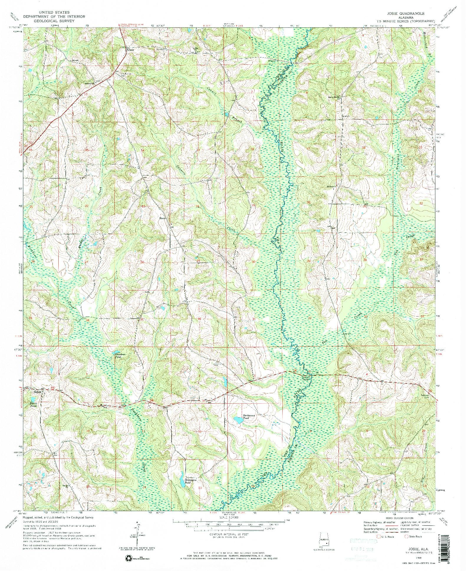 USGS 1:24000-SCALE QUADRANGLE FOR JOSIE, AL 1968