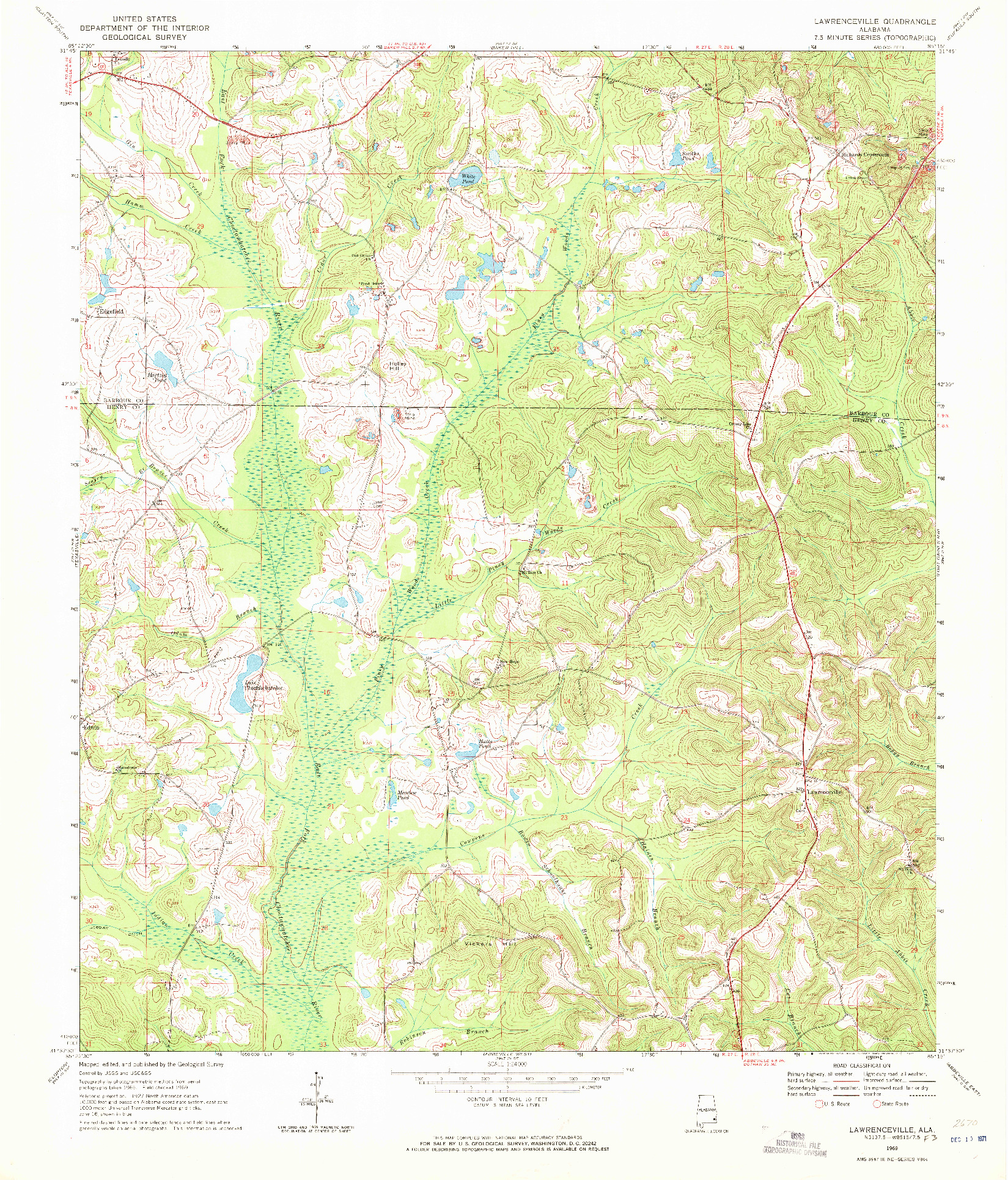 USGS 1:24000-SCALE QUADRANGLE FOR LAWRENCEVILLE, AL 1969