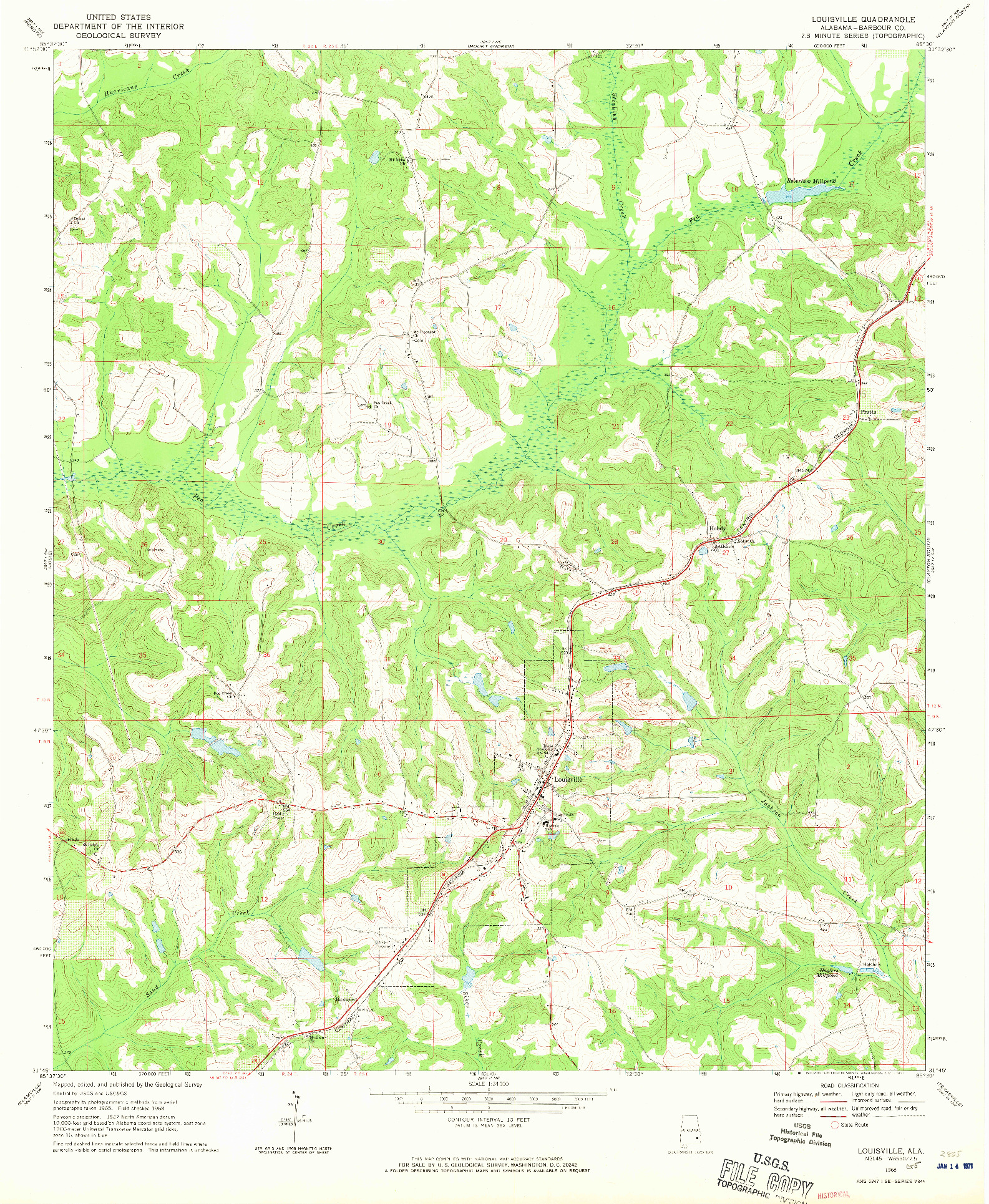 USGS 1:24000-SCALE QUADRANGLE FOR LOUISVILLE, AL 1968