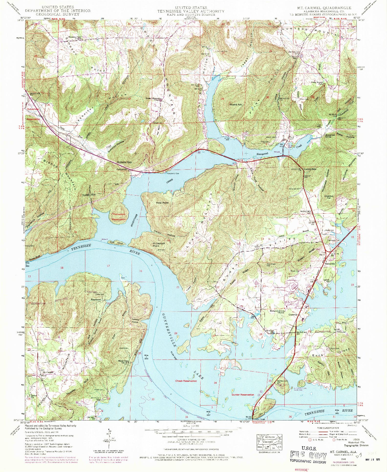 USGS 1:24000-SCALE QUADRANGLE FOR MT CARMEL, AL 1948