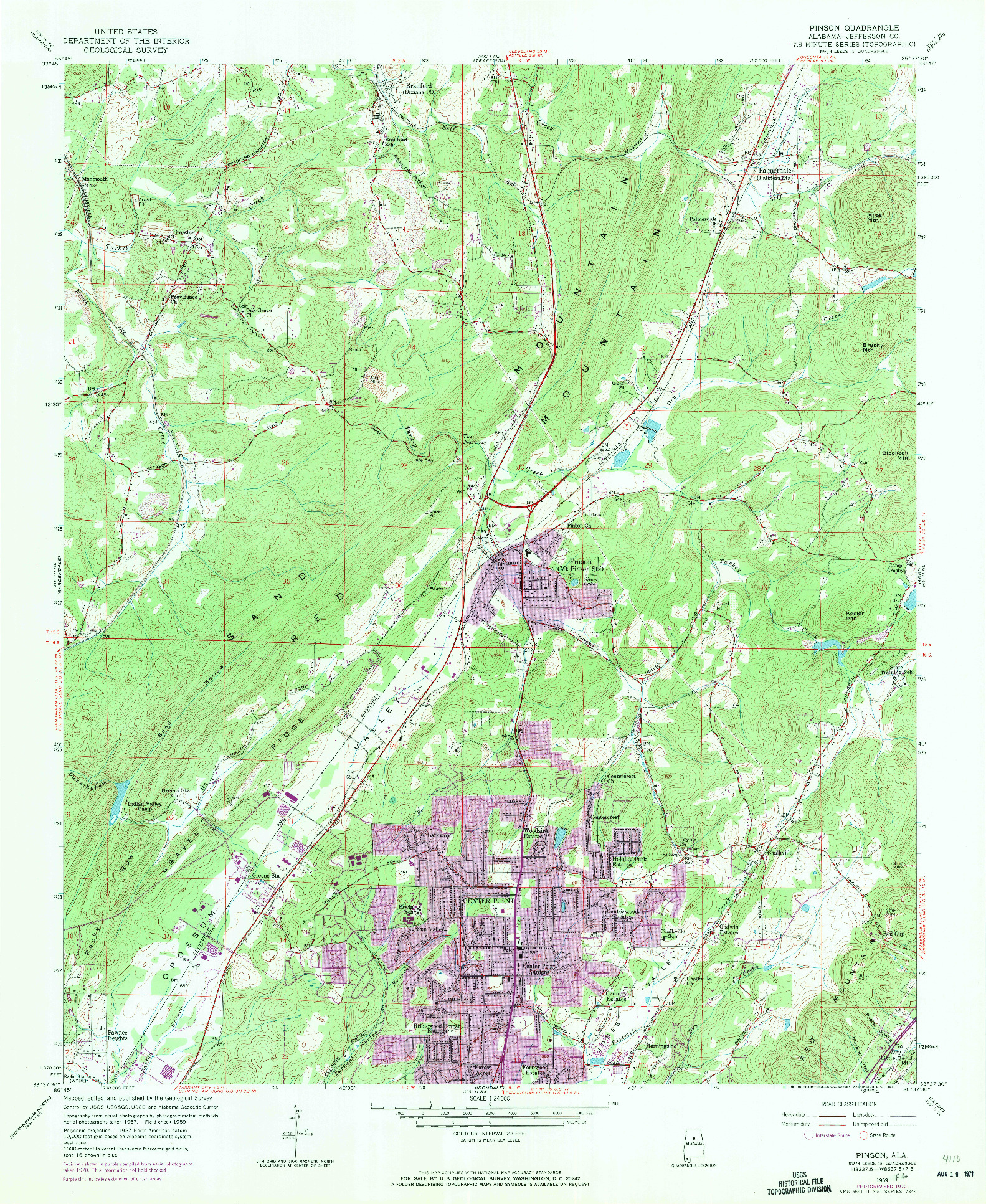 USGS 1:24000-SCALE QUADRANGLE FOR PINSON, AL 1959