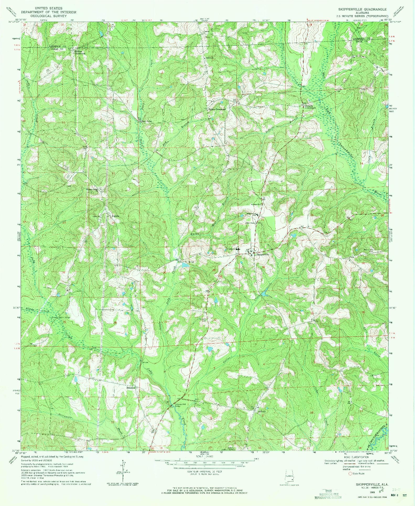 USGS 1:24000-SCALE QUADRANGLE FOR SKIPPERVILLE, AL 1969