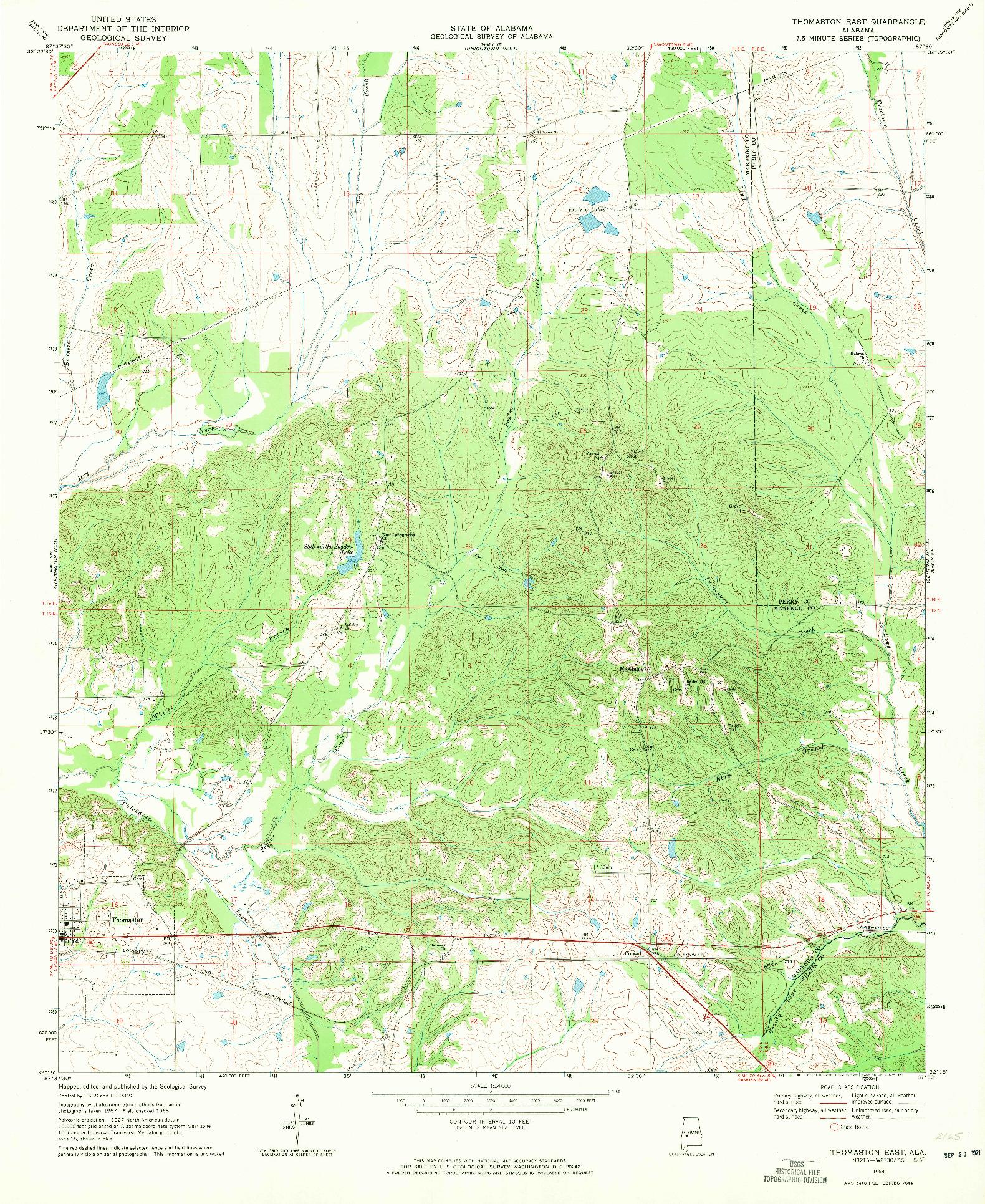USGS 1:24000-SCALE QUADRANGLE FOR THOMASTON EAST, AL 1968