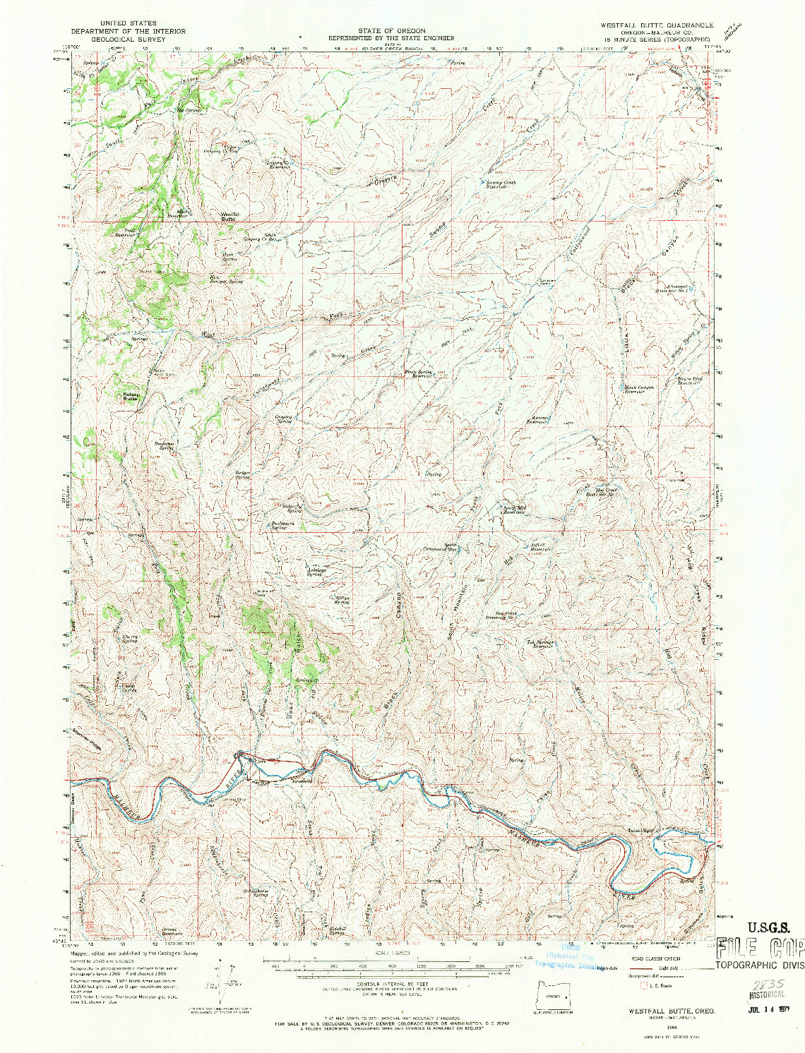 USGS 1:62500-SCALE QUADRANGLE FOR WESTFALL BUTTE, OR 1966