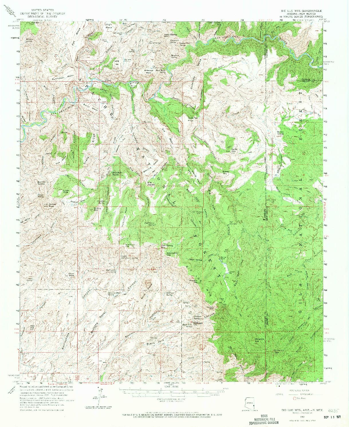 USGS 1:62500-SCALE QUADRANGLE FOR BIG LUE MTS, AZ 1962