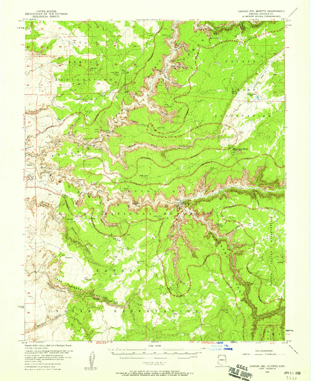 USGS 1:62500-SCALE QUADRANGLE FOR CANYON DEL MUERTO, AZ 1955