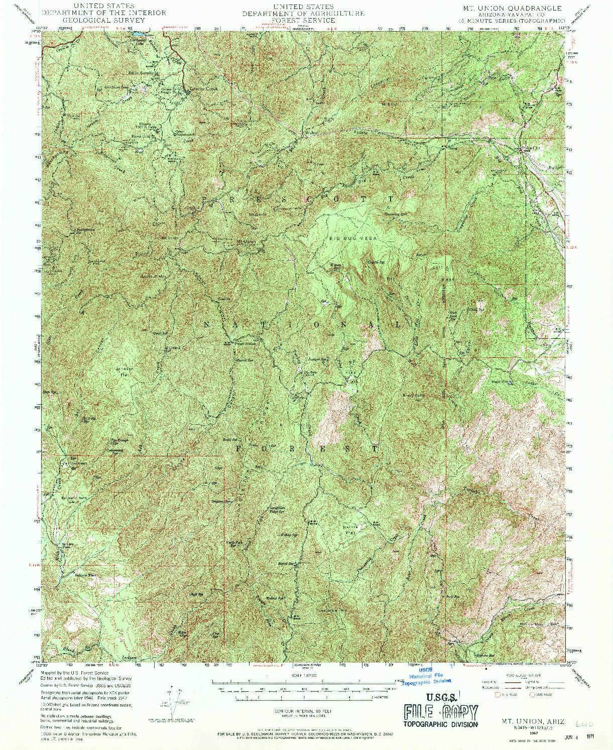 USGS 1:62500-SCALE QUADRANGLE FOR MT. UNION, AZ 1947