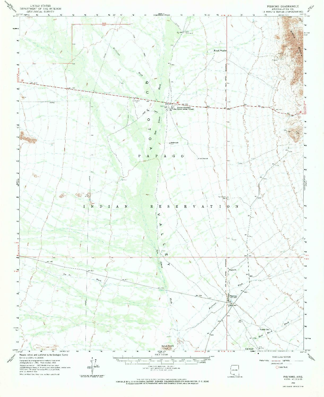 USGS 1:62500-SCALE QUADRANGLE FOR PISINIMO, AZ 1963
