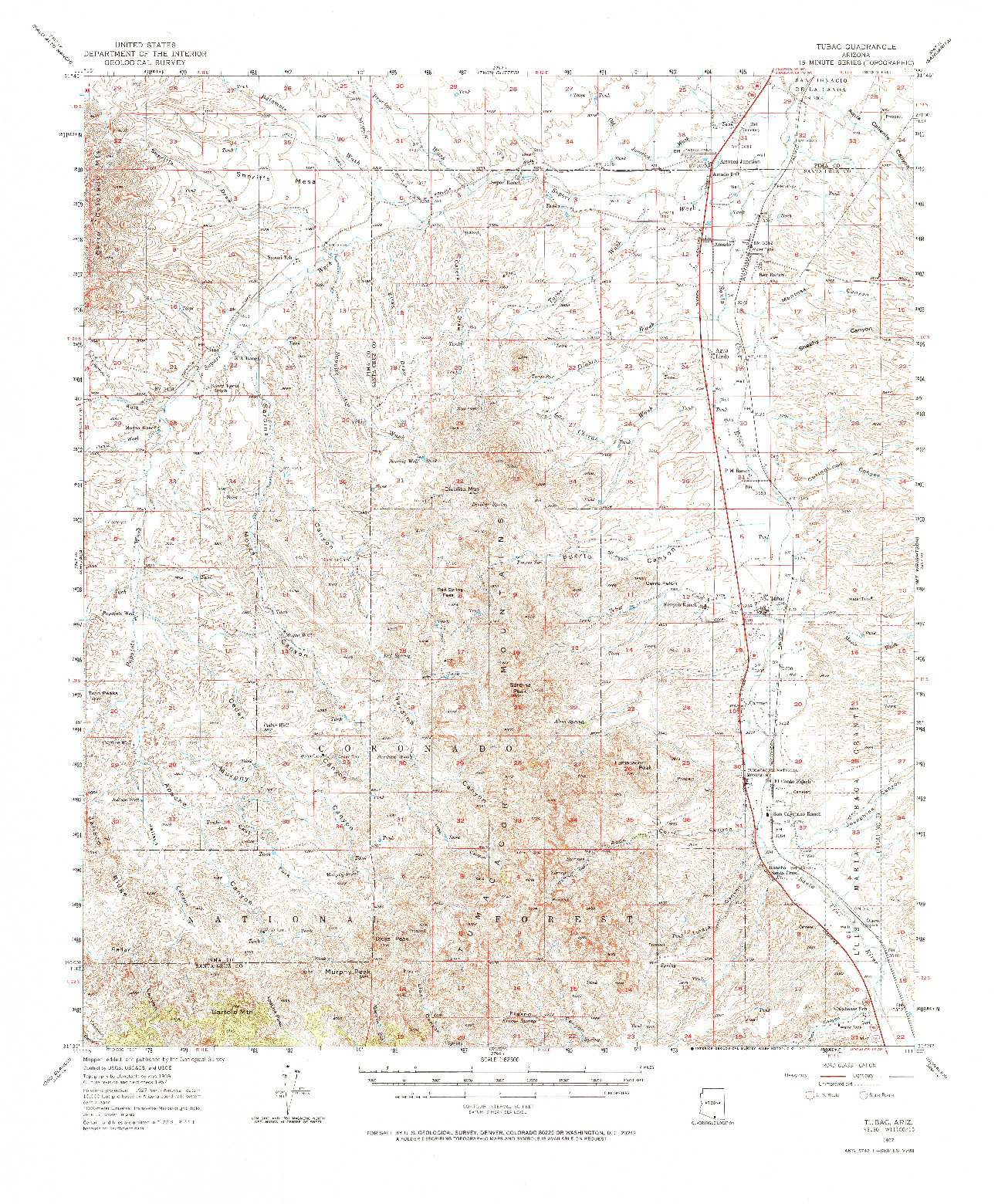USGS 1:62500-SCALE QUADRANGLE FOR TUBAC, AZ 1957