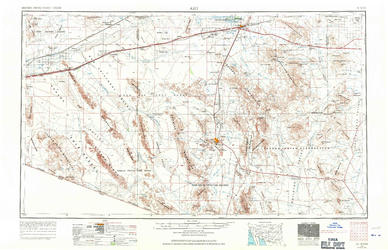 USGS 1:250000-SCALE QUADRANGLE FOR AJO, AZ 1953