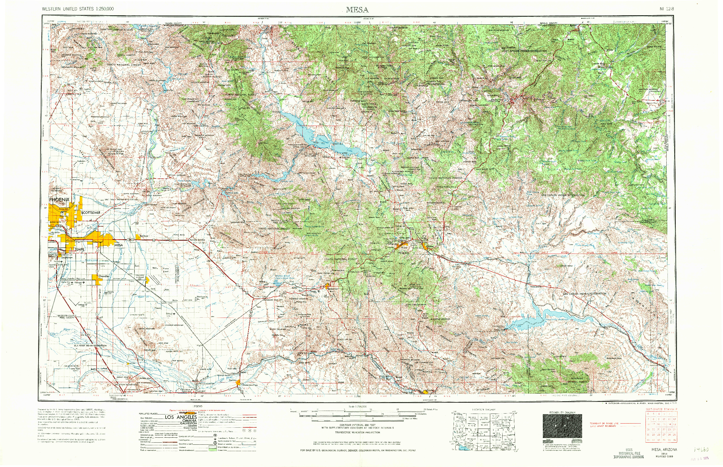 USGS 1:250000-SCALE QUADRANGLE FOR MESA, AZ 1954