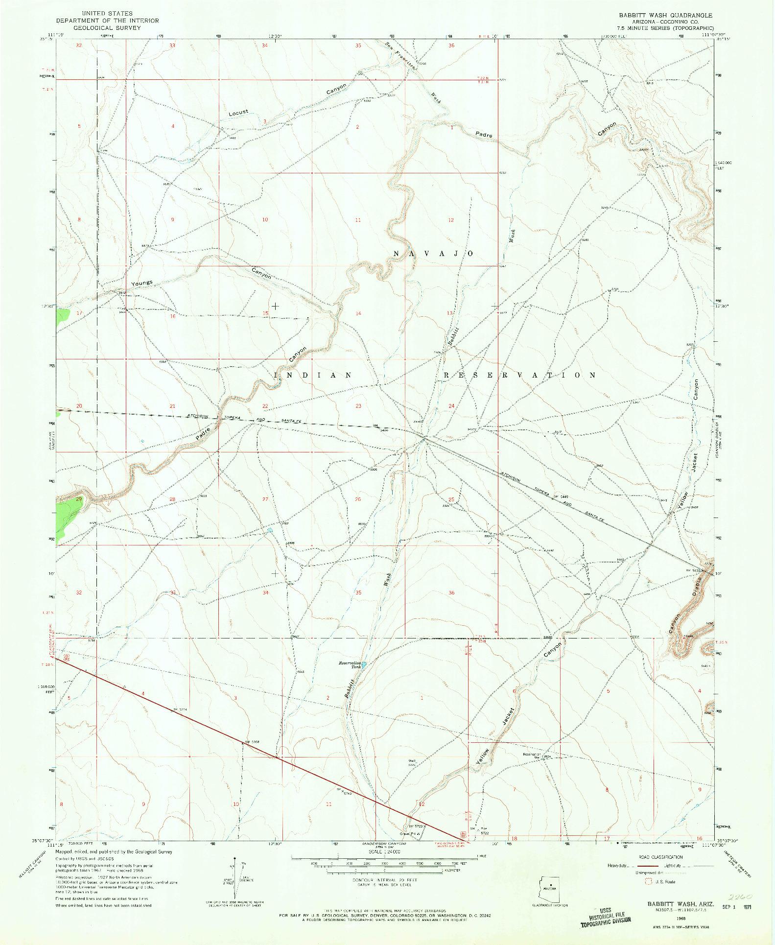 USGS 1:24000-SCALE QUADRANGLE FOR BABBITT WASH, AZ 1968