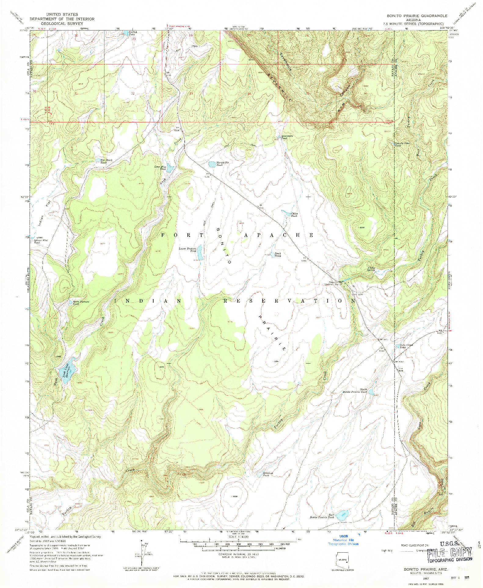 USGS 1:24000-SCALE QUADRANGLE FOR BONITO PRAIRIE, AZ 1967