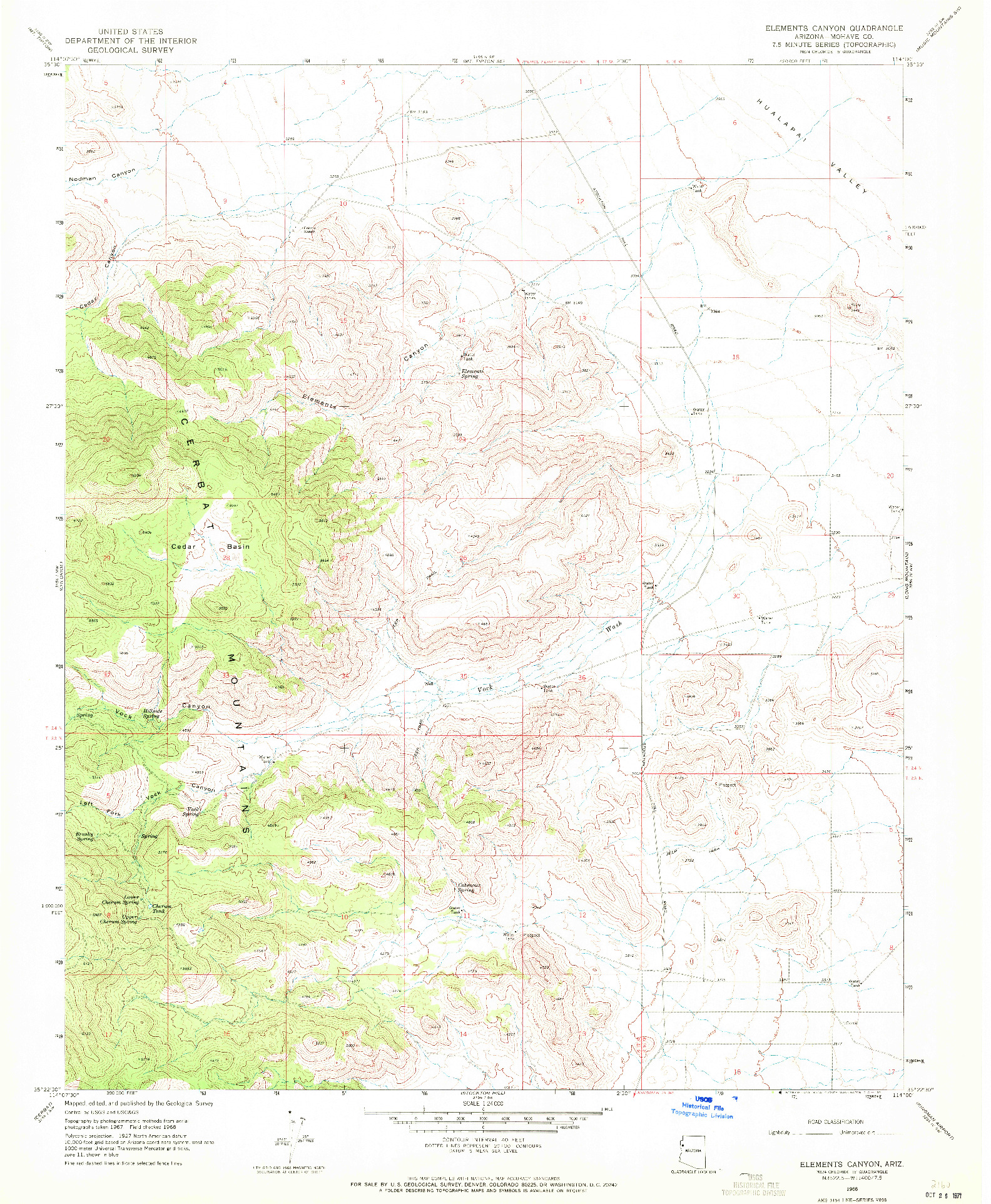 USGS 1:24000-SCALE QUADRANGLE FOR ELEMENTS CANYON, AZ 1968