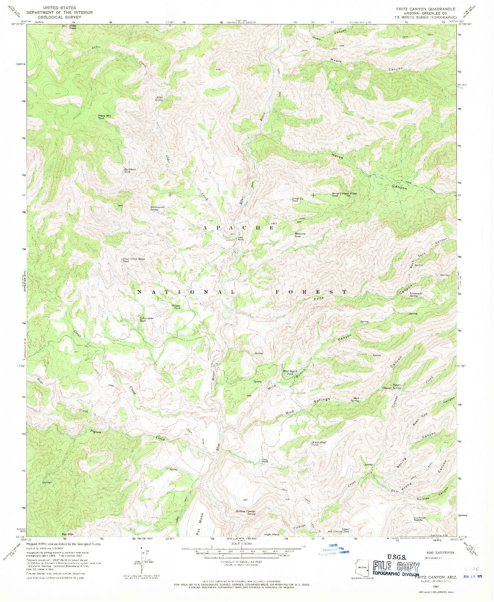 USGS 1:24000-SCALE QUADRANGLE FOR FRITZ CANYON, AZ 1967