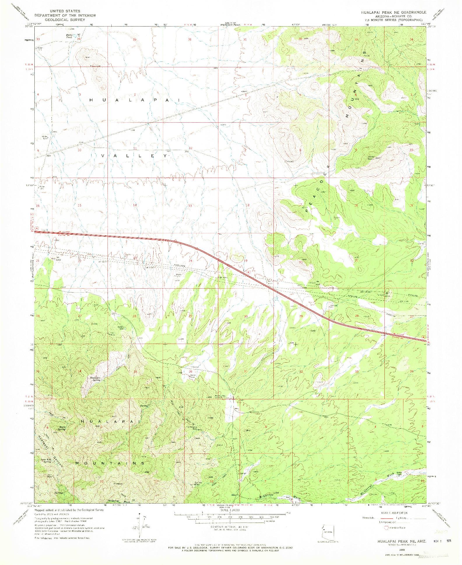USGS 1:24000-SCALE QUADRANGLE FOR HUALAPAI PEAK NE, AZ 1968