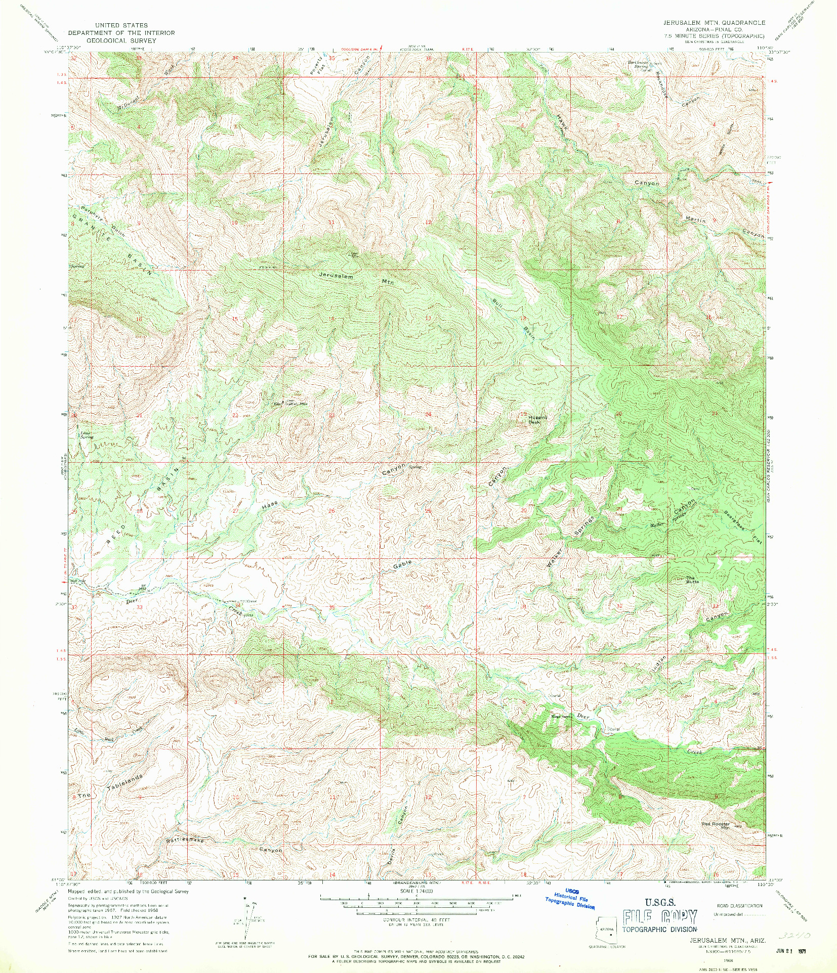 USGS 1:24000-SCALE QUADRANGLE FOR JERUSALEM MTN., AZ 1968