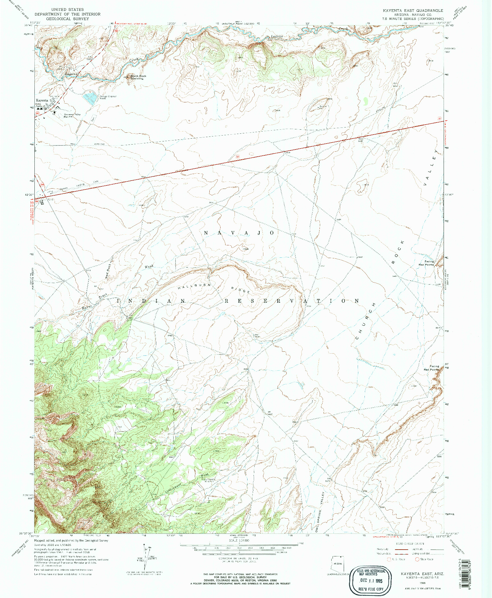 USGS 1:24000-SCALE QUADRANGLE FOR KAYENTA EAST, AZ 1968