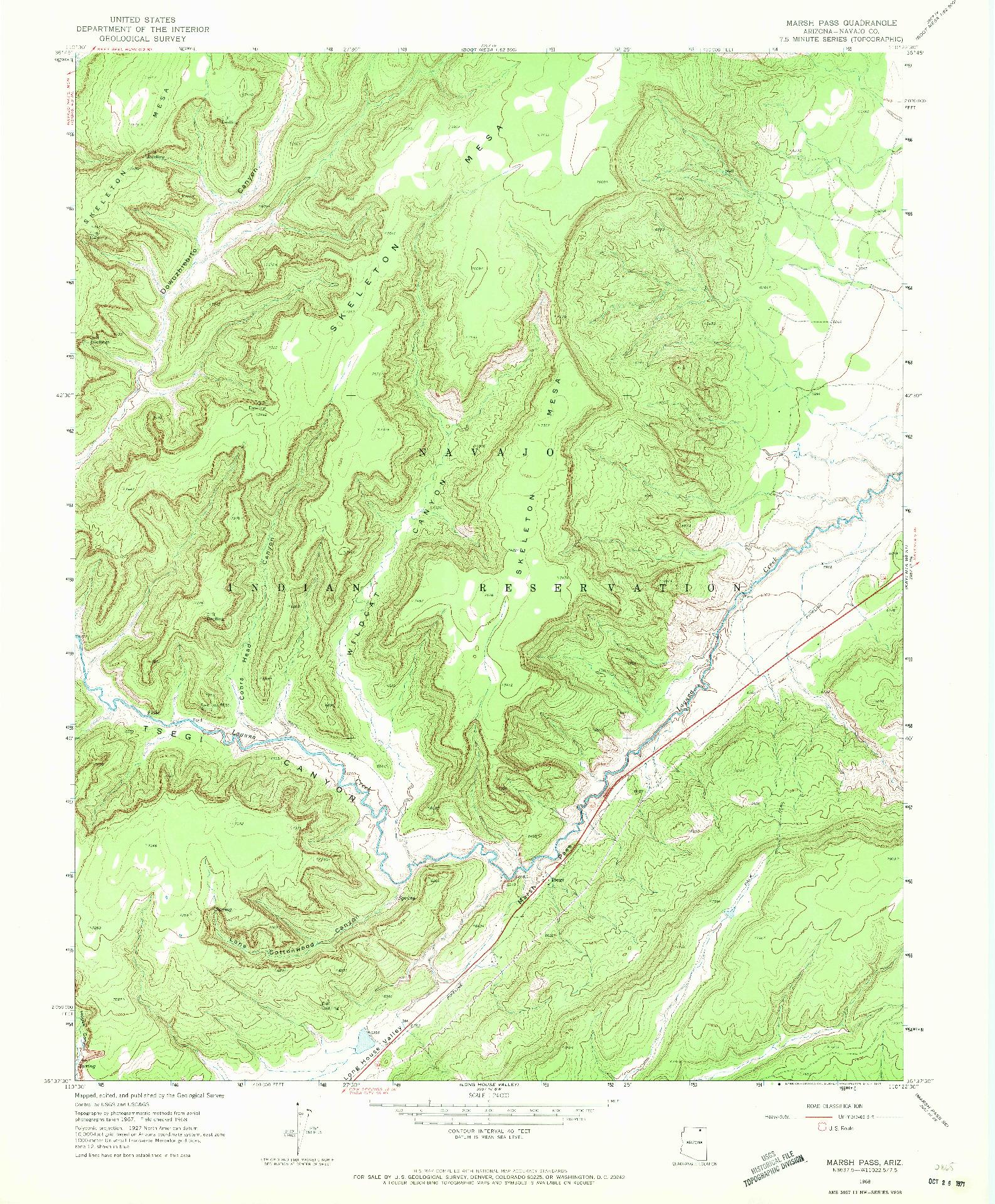 USGS 1:24000-SCALE QUADRANGLE FOR MARSH PASS, AZ 1968